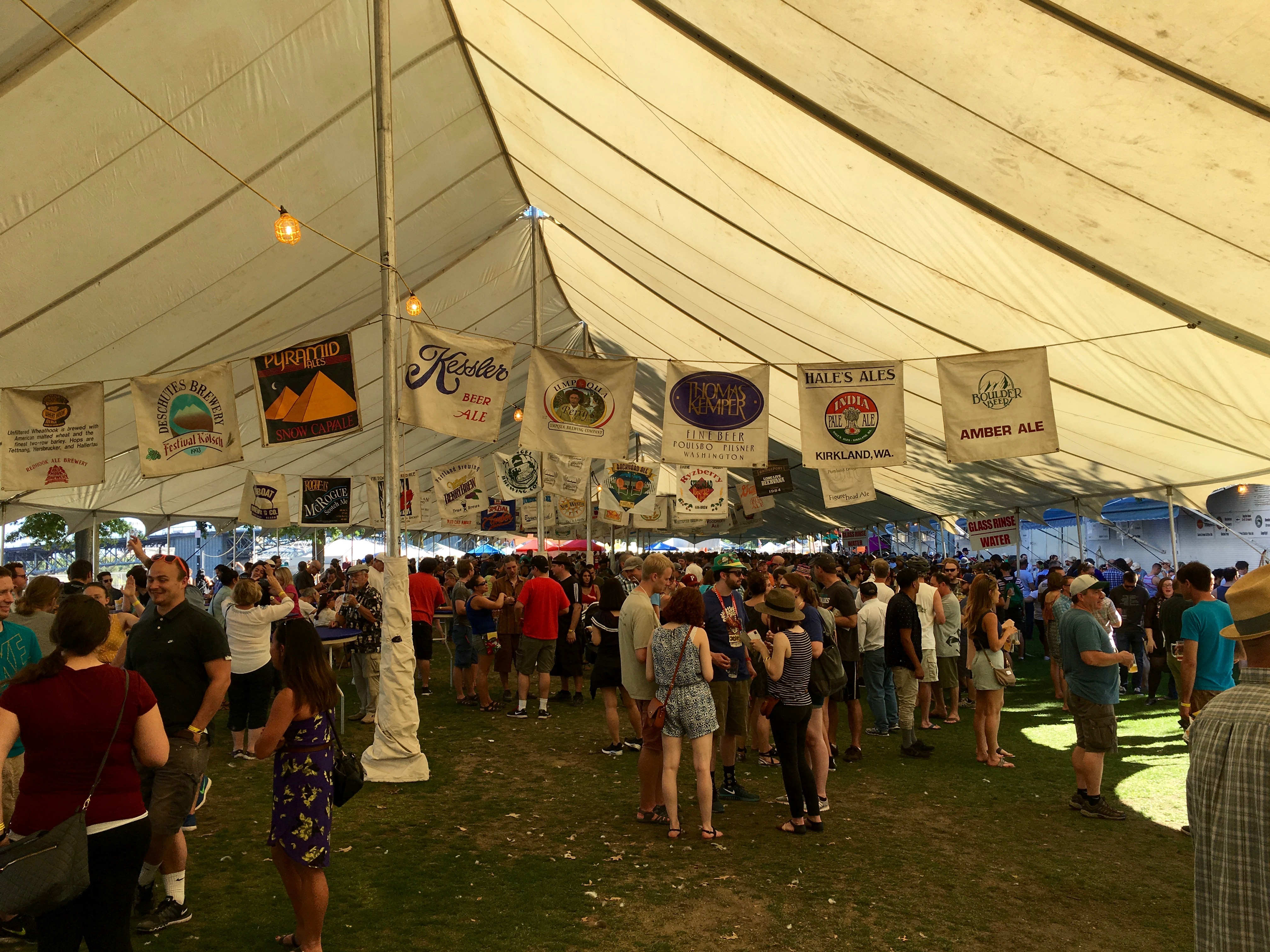 Inside the North Tent at the 2016 Oregon Brewers Festival.