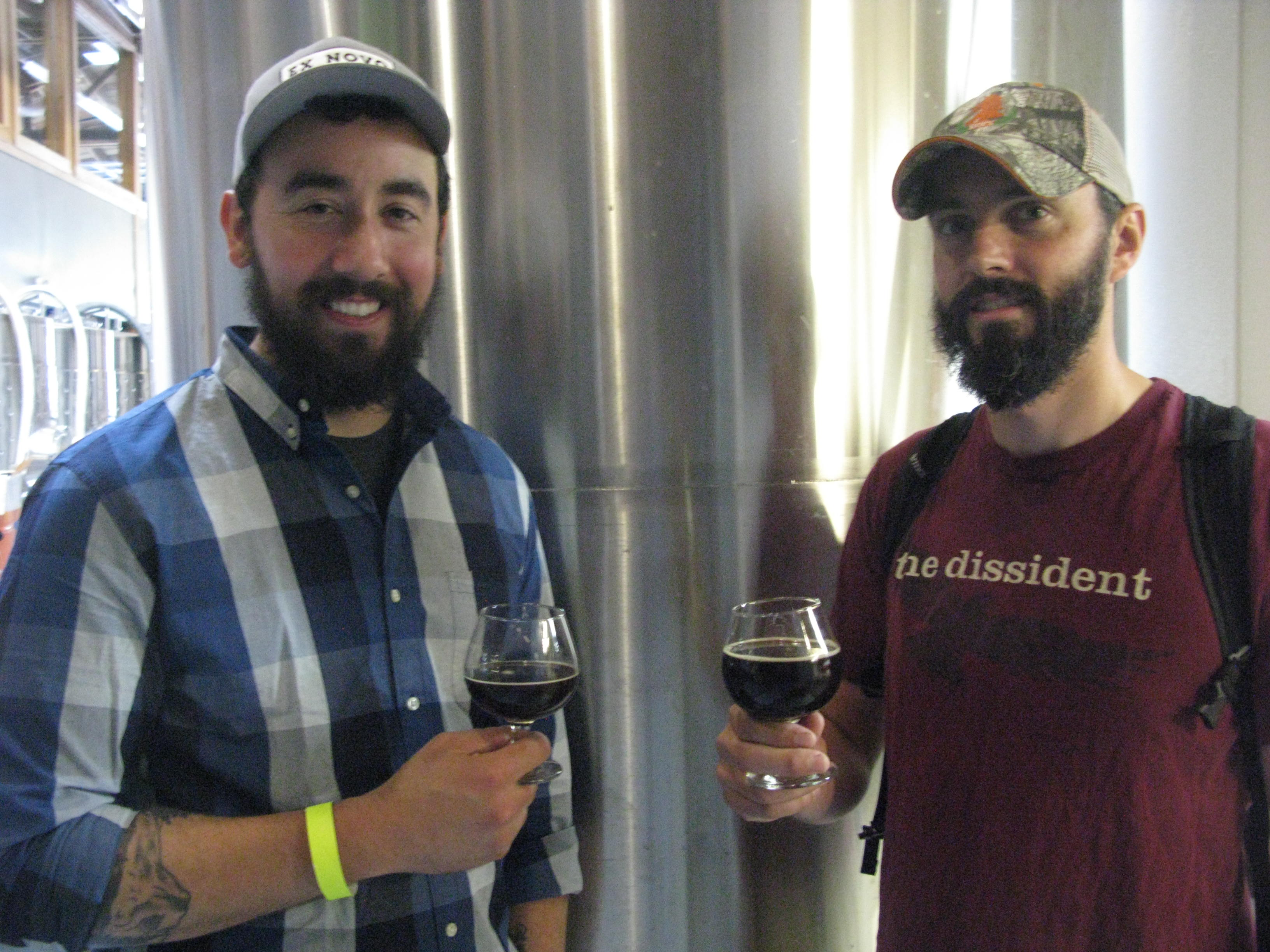 Jason Barbee of Ex Novo with The Commons brewer Sam Pecoraro at Ex Novo's 1st anniversary. (FoystonFoto)