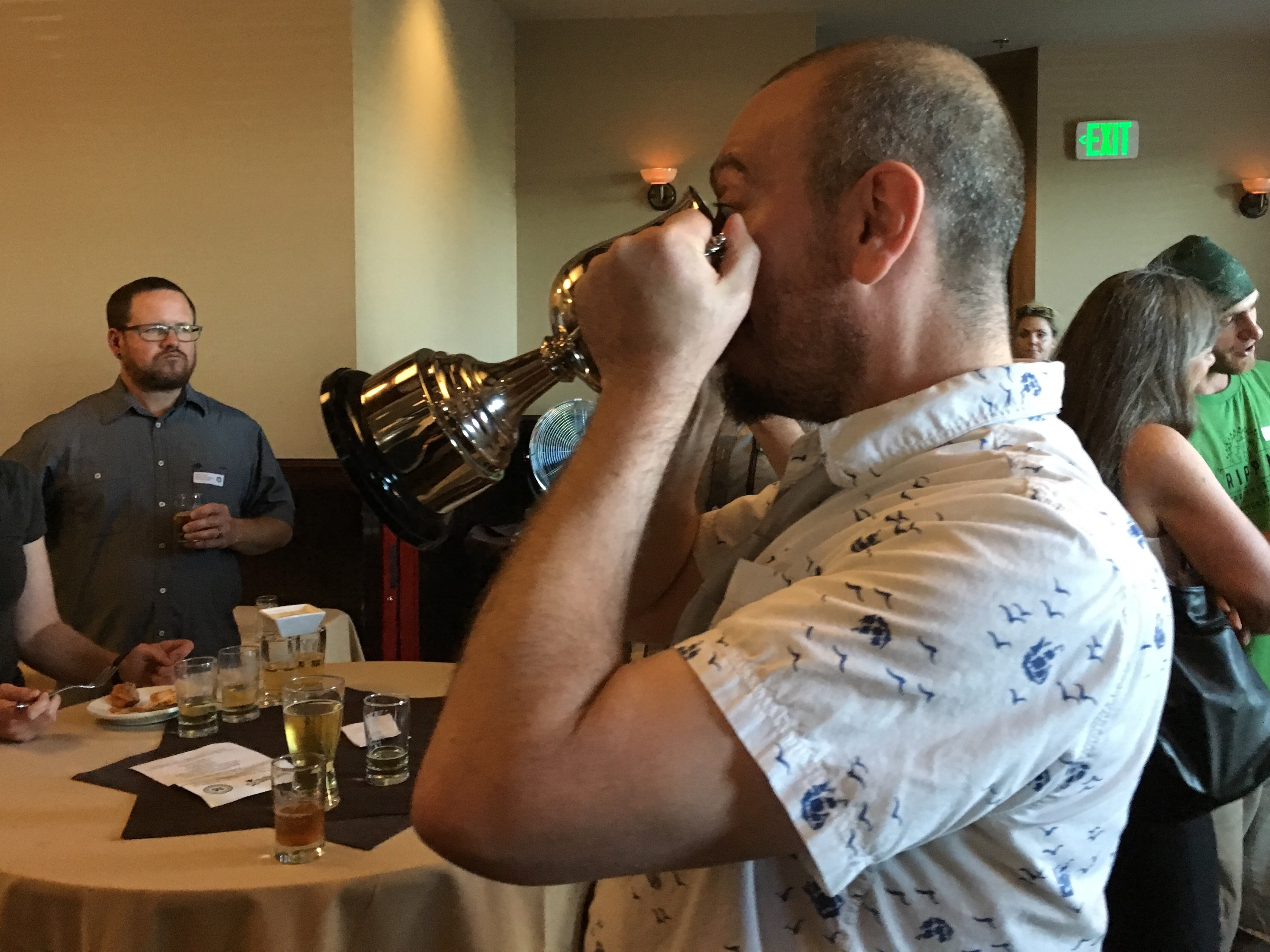 Jim Bonomo drinking from the Portland International Cider Cup.