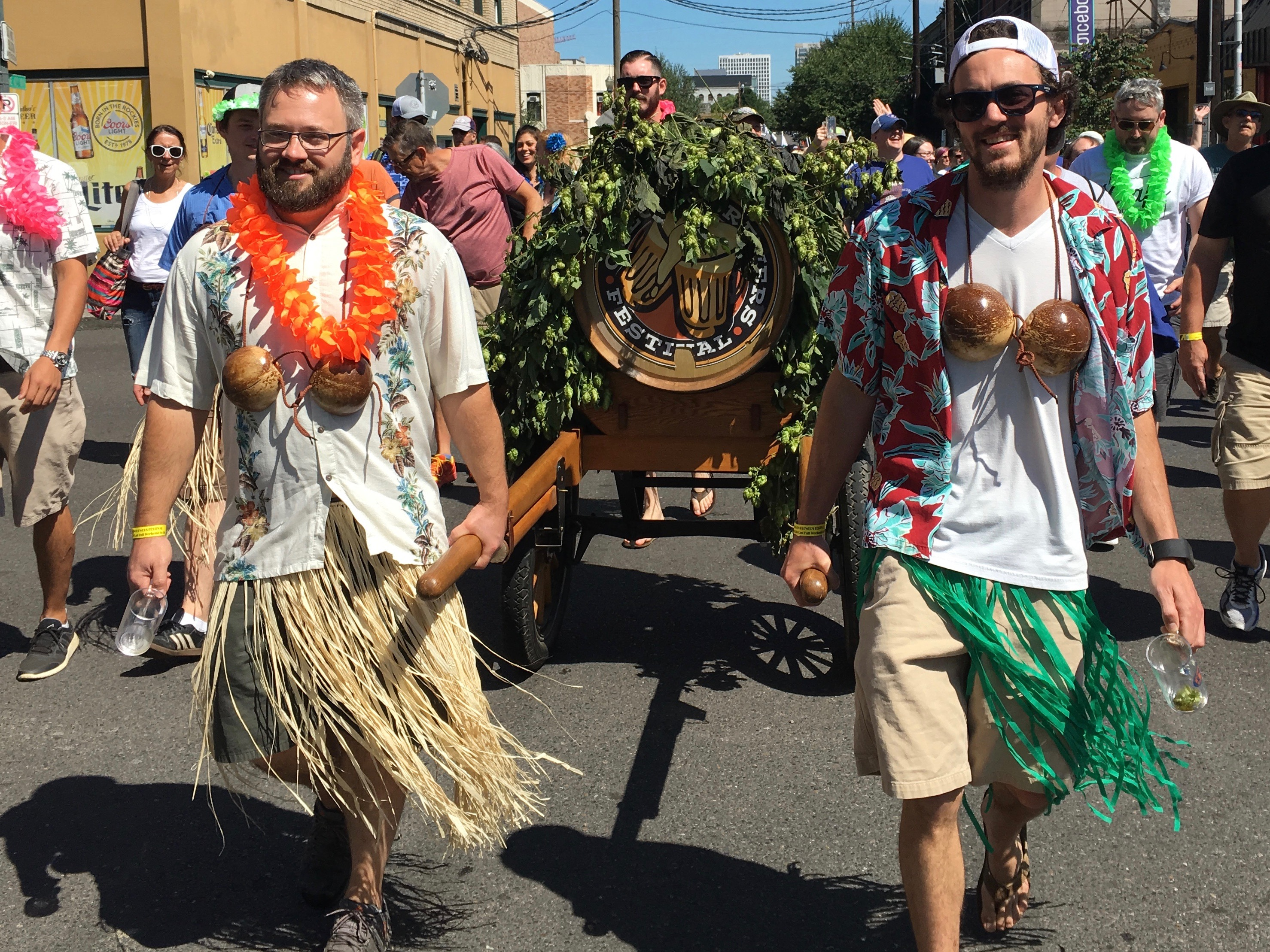 Laurelwood Brewing marches in the 2016 Oregon Brewers Festival Parade pulling the OBF Ceremonial Keg.