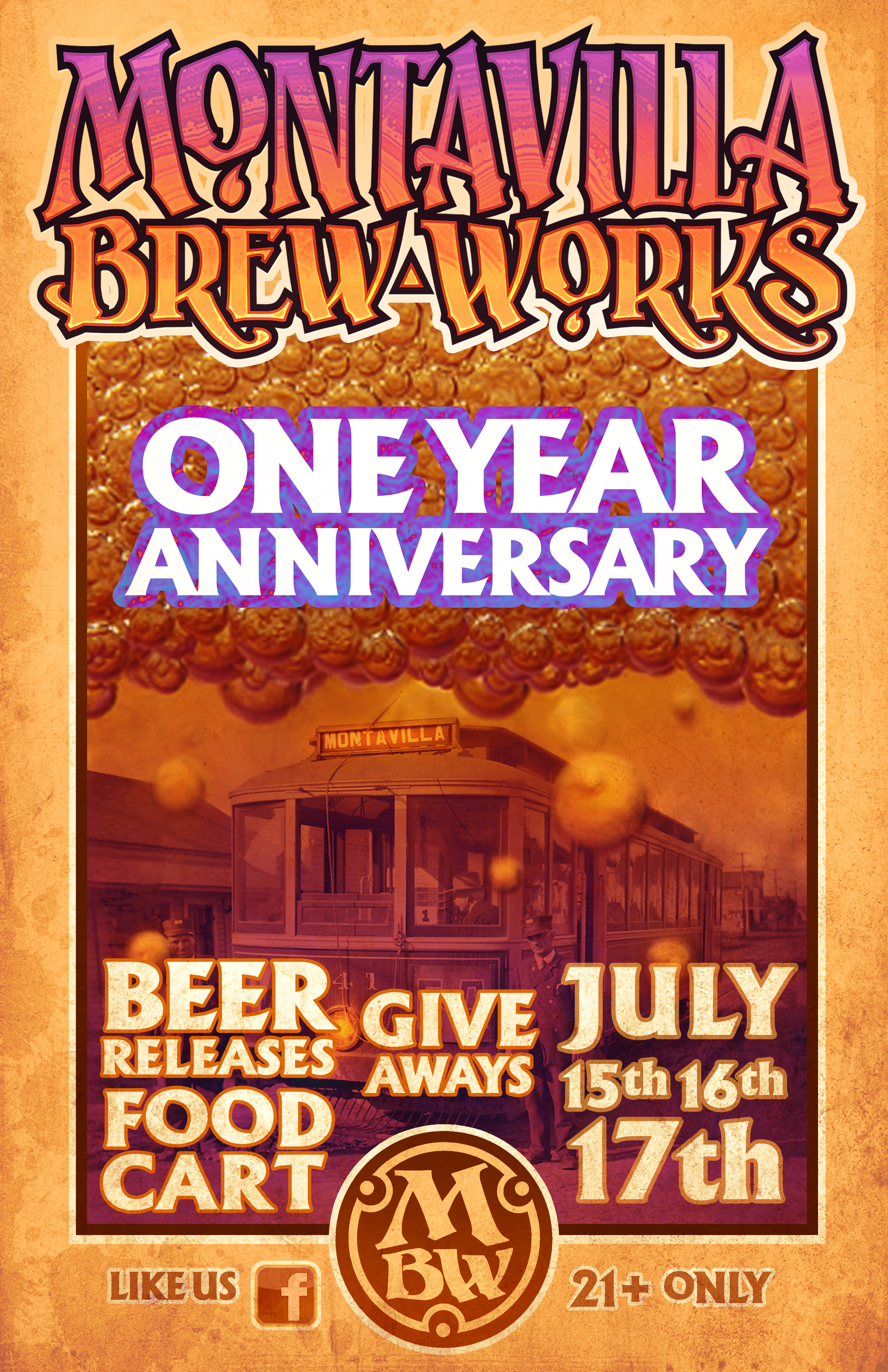 Montavilla Brew Works One Year Anniversary. (poster by Chuck Lukacs 2016)