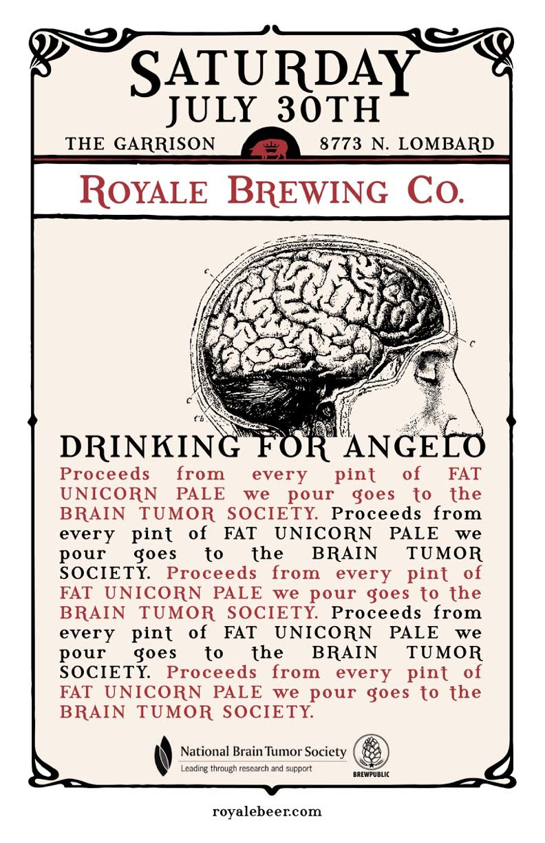 Royal Brewing Drinking for Angelo and the National Brain Tumor Society