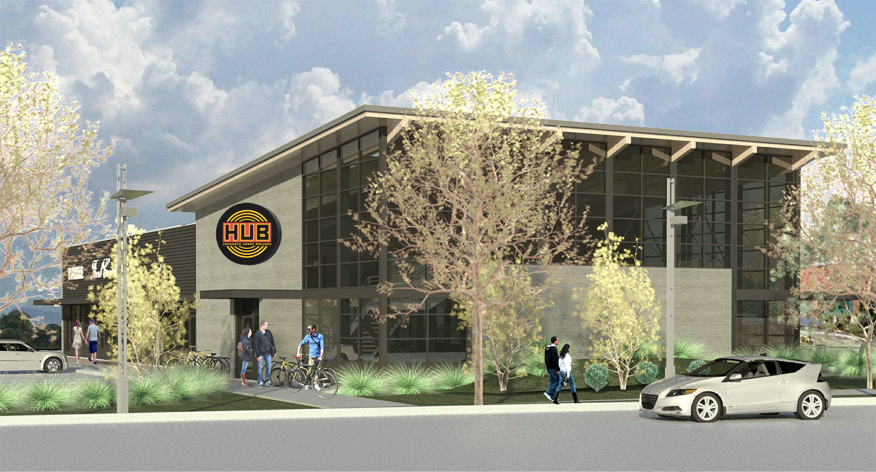 Rendering of the new Hopworks Urban Brewery location in Vancouver, Washington. (image courtesy of Siteworks)