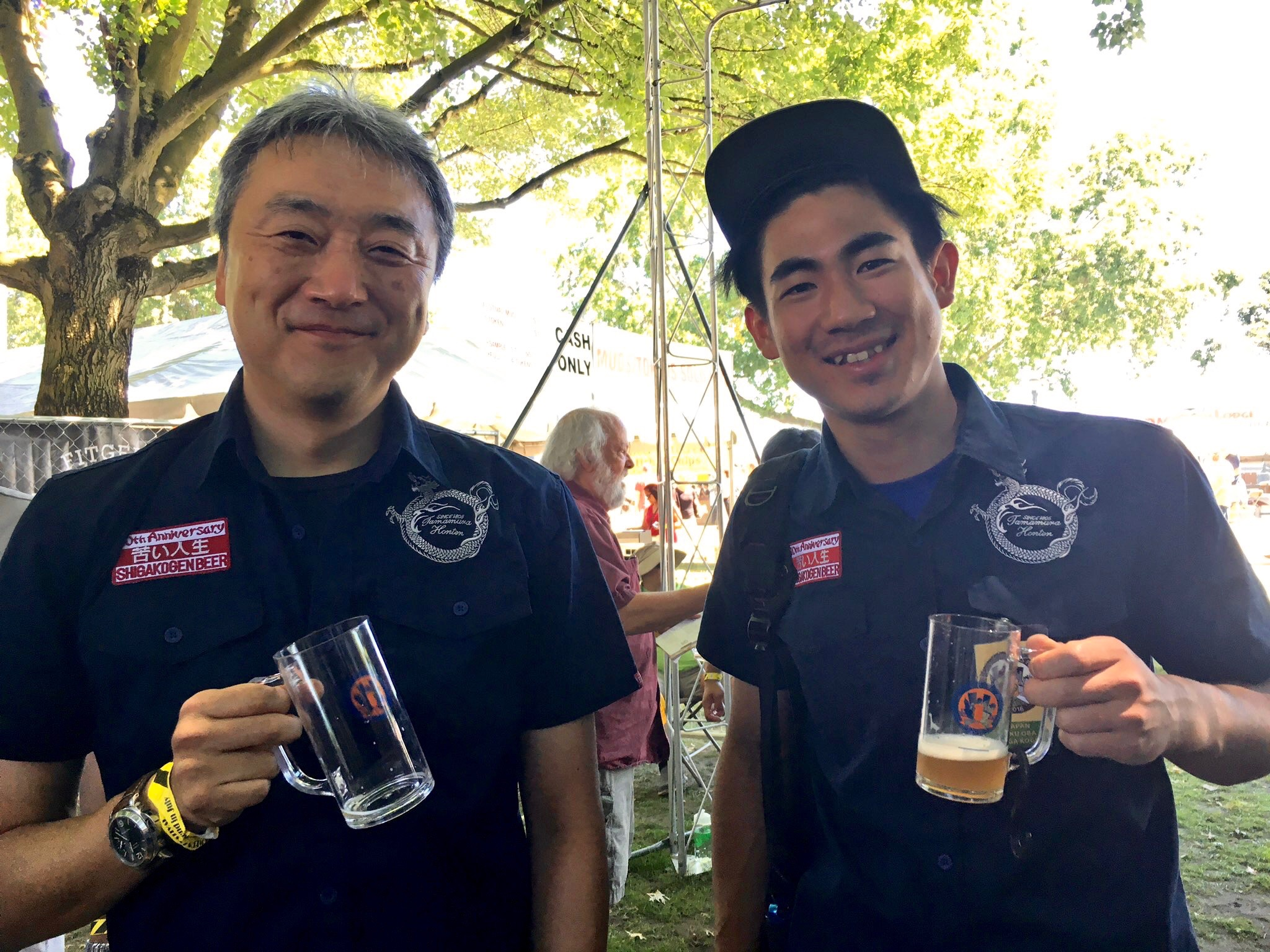 Riku Oba and Eigo Sato from Shiga Kogen from Japan in the International Beer Garden at the 2016 Oregon Brewers Festival. (photo by Cat Stelzer)