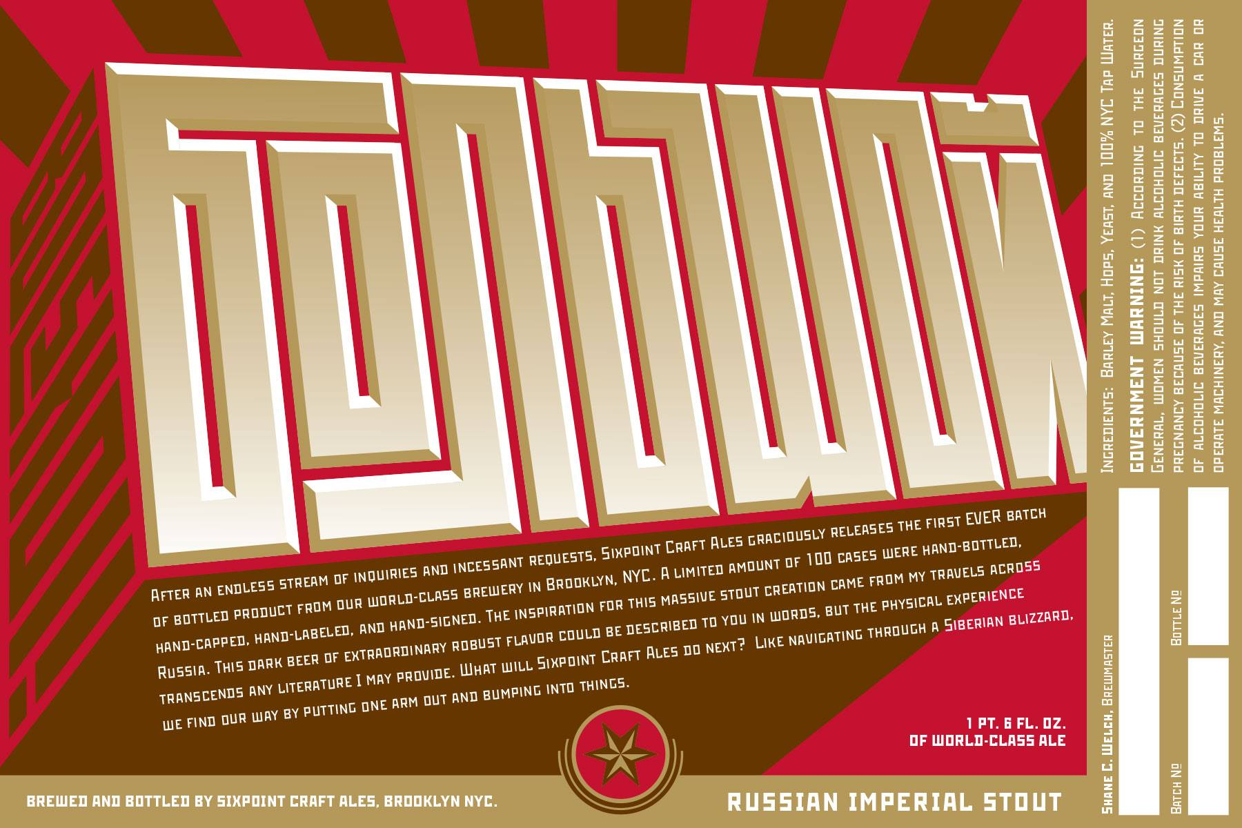 Sixpoint Brewing Bolshoi! Russian Imperial Stout Label