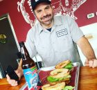 Rick Gencarelli from Lardo presenting The American Dream Sandwich at Lardo West. (image courtesy of Gigantic Brewing)