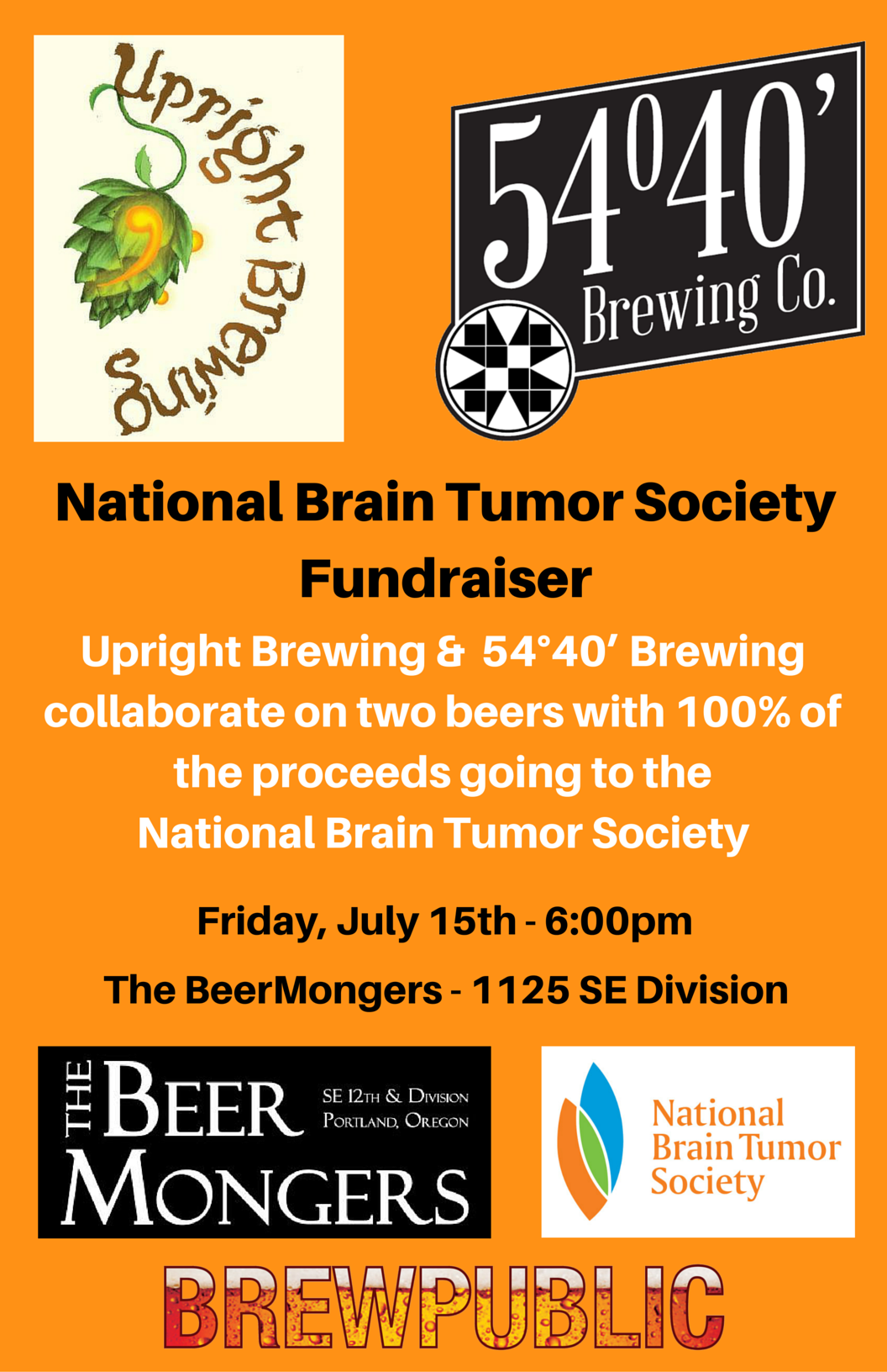 Upright Brewing & 54 40 Brewing and The BeerMongers National Brain Tumor Society Fundraiser