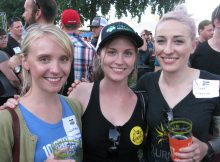 Whitney Burnside (10 Barrel) Cece French (formerly Lompoc, now in the hops industry) and Burnside's Natalie Baldwin at the Oregon Brewers Guild BBQ. (FoystonFoto)