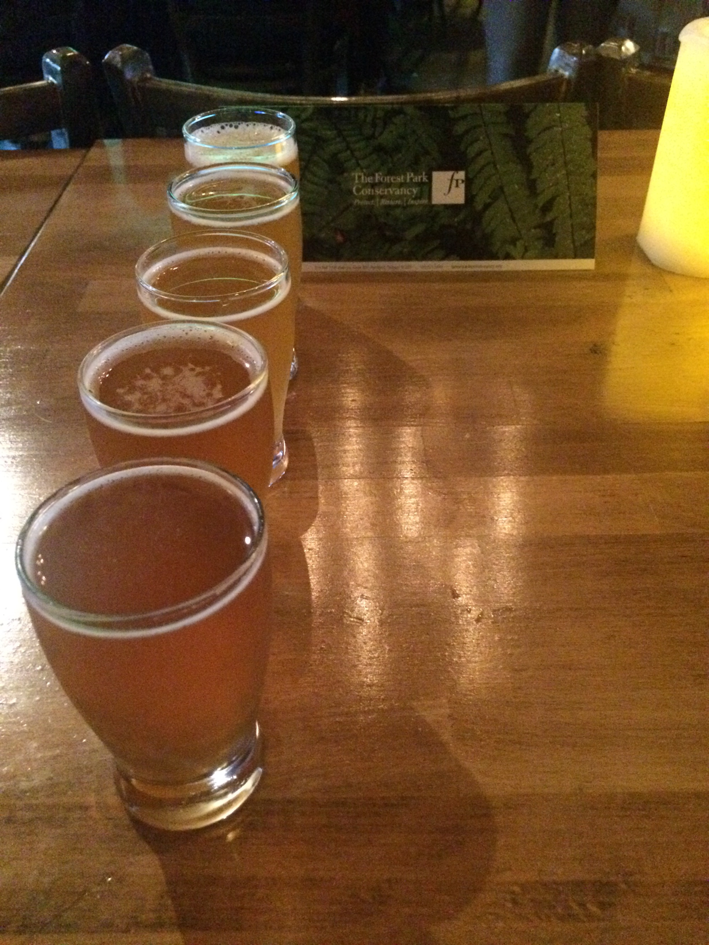 A flight of beers during the 2015 Beers Made By Walking fest at Bazi.