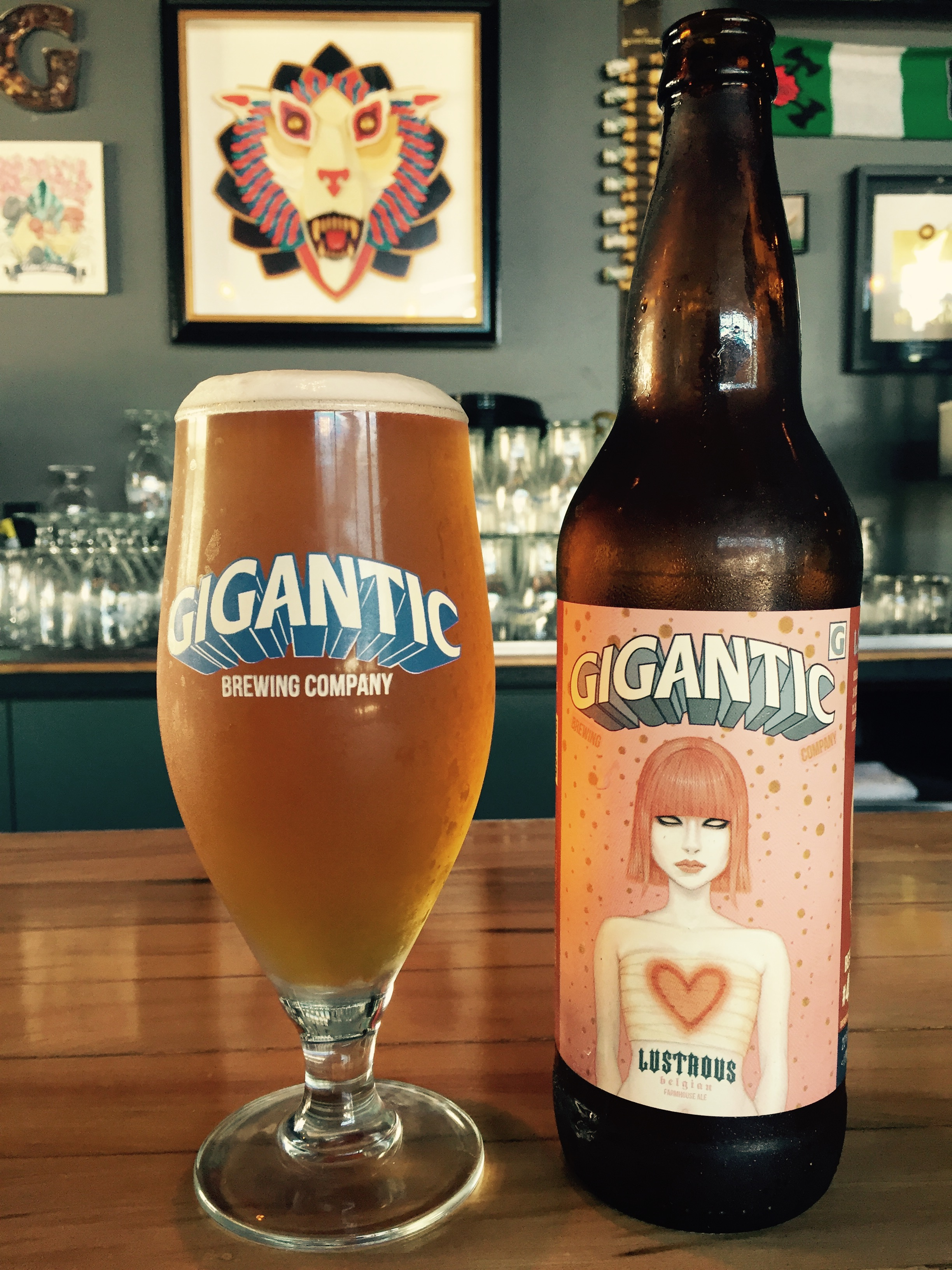 A glass pour of Lustrous from the 22 oz. bottle at the Gigantic Brewing Taproom. (image courtesy of Gigantic Brewing)