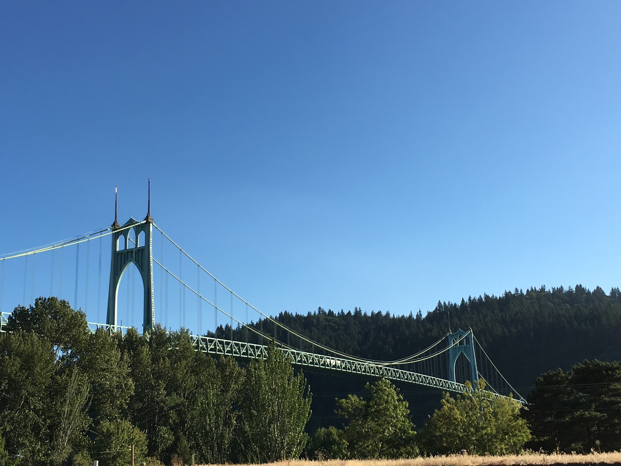A view of the St Johns Bridge from Occidental Wursthaus. (photo by Cat Stelzer)
