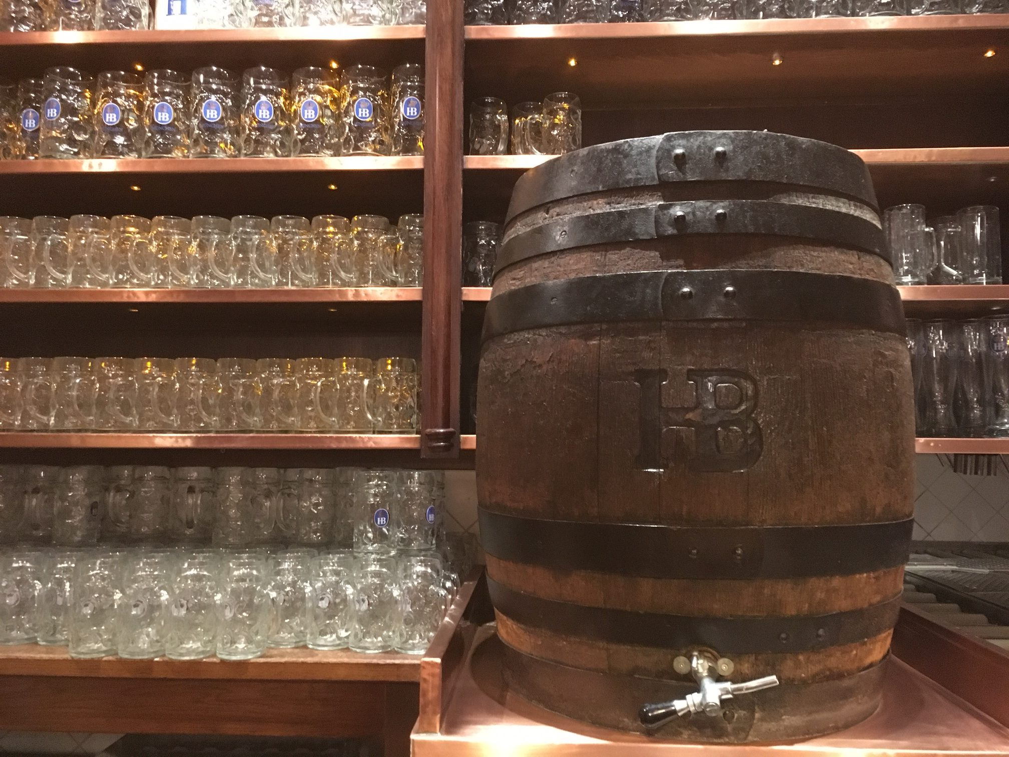 A wooden keg on the bar at Hofbrauhaus Munchen. (photo by Cat Stelzer)