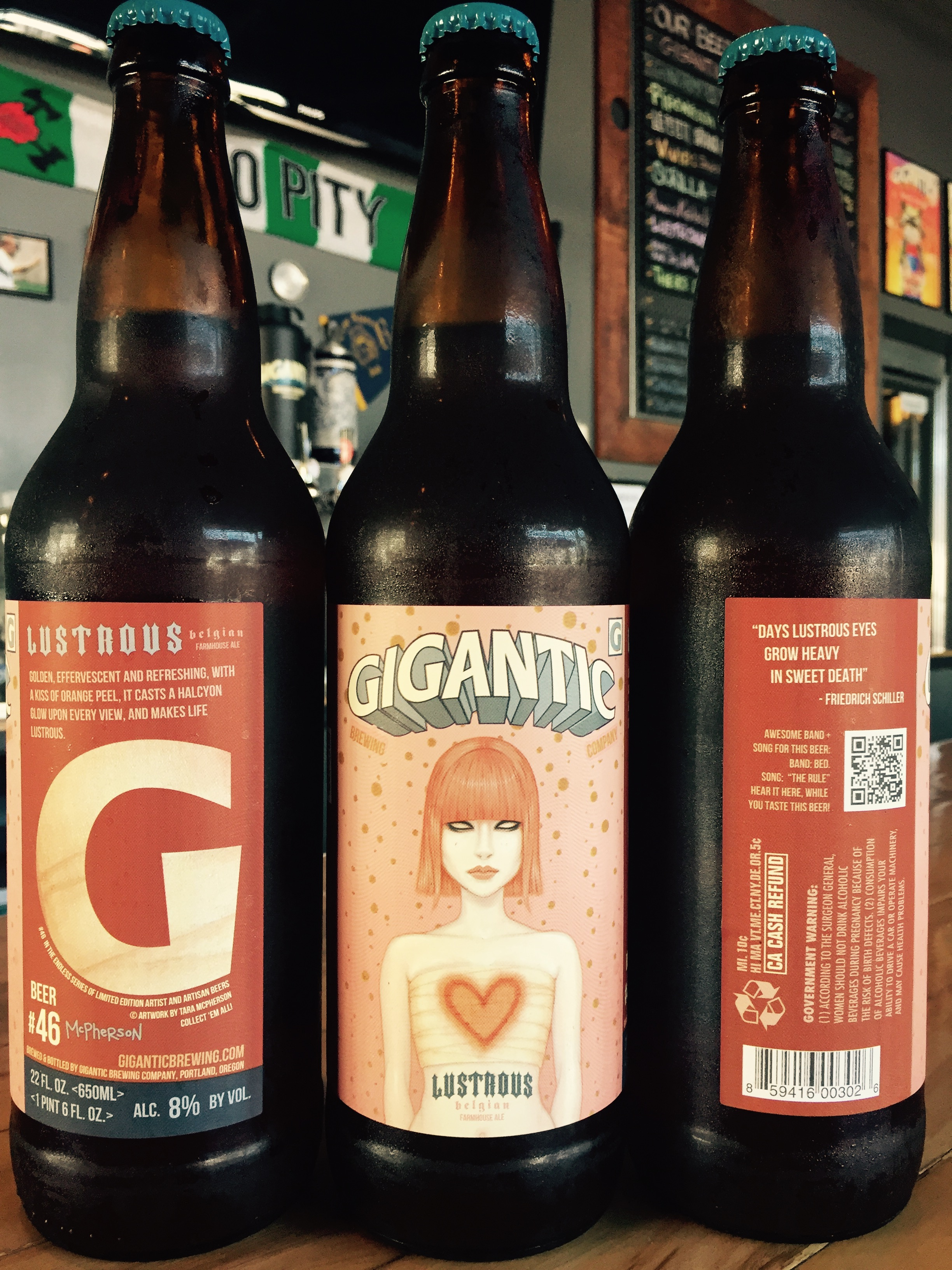 A wraparound of the label for Lustrous. (image courtesy of Gigantic Brewing)
