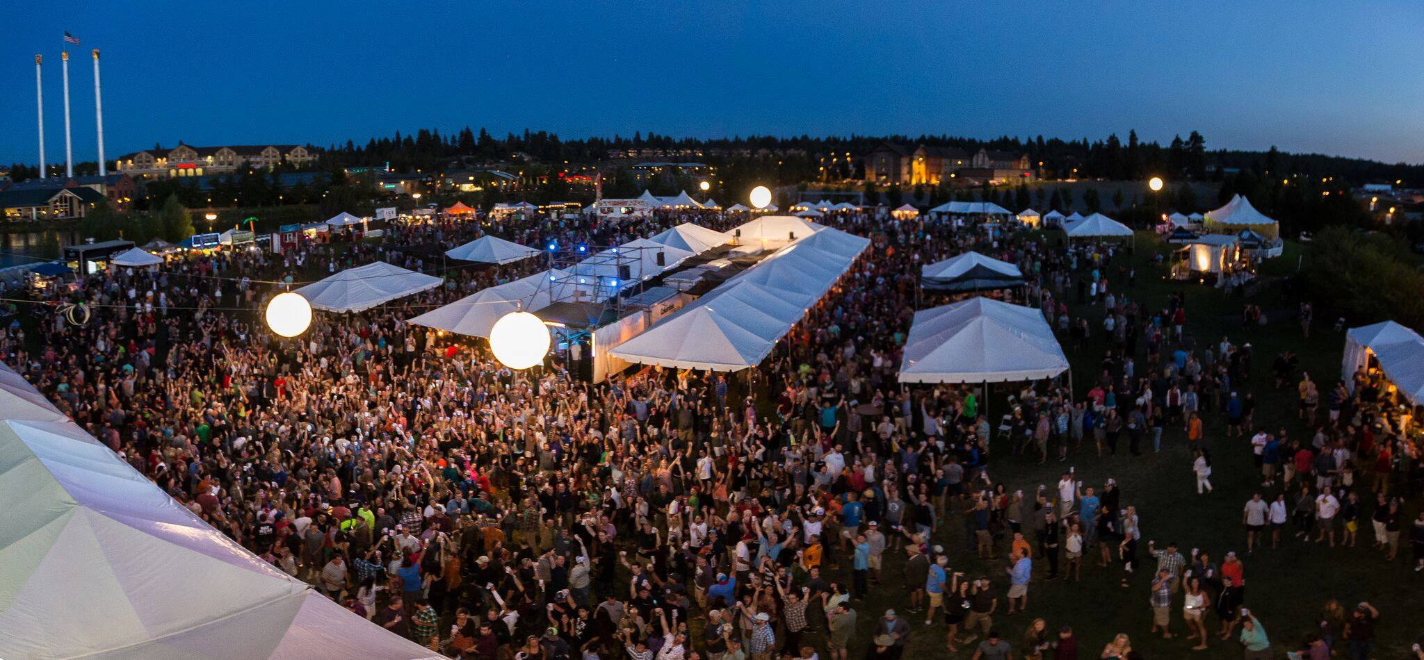 Evening revelry of the Bend Brewfest in Bend's Old Mill District. (image courtesy of Bend Brewfest)