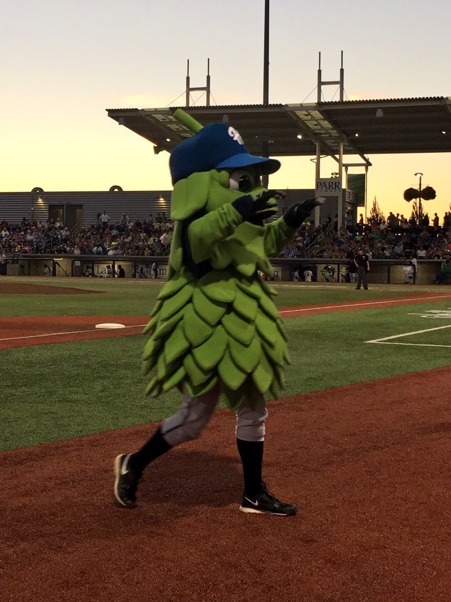 Barley the Hop, the mascot of the Hillsboro Hops.