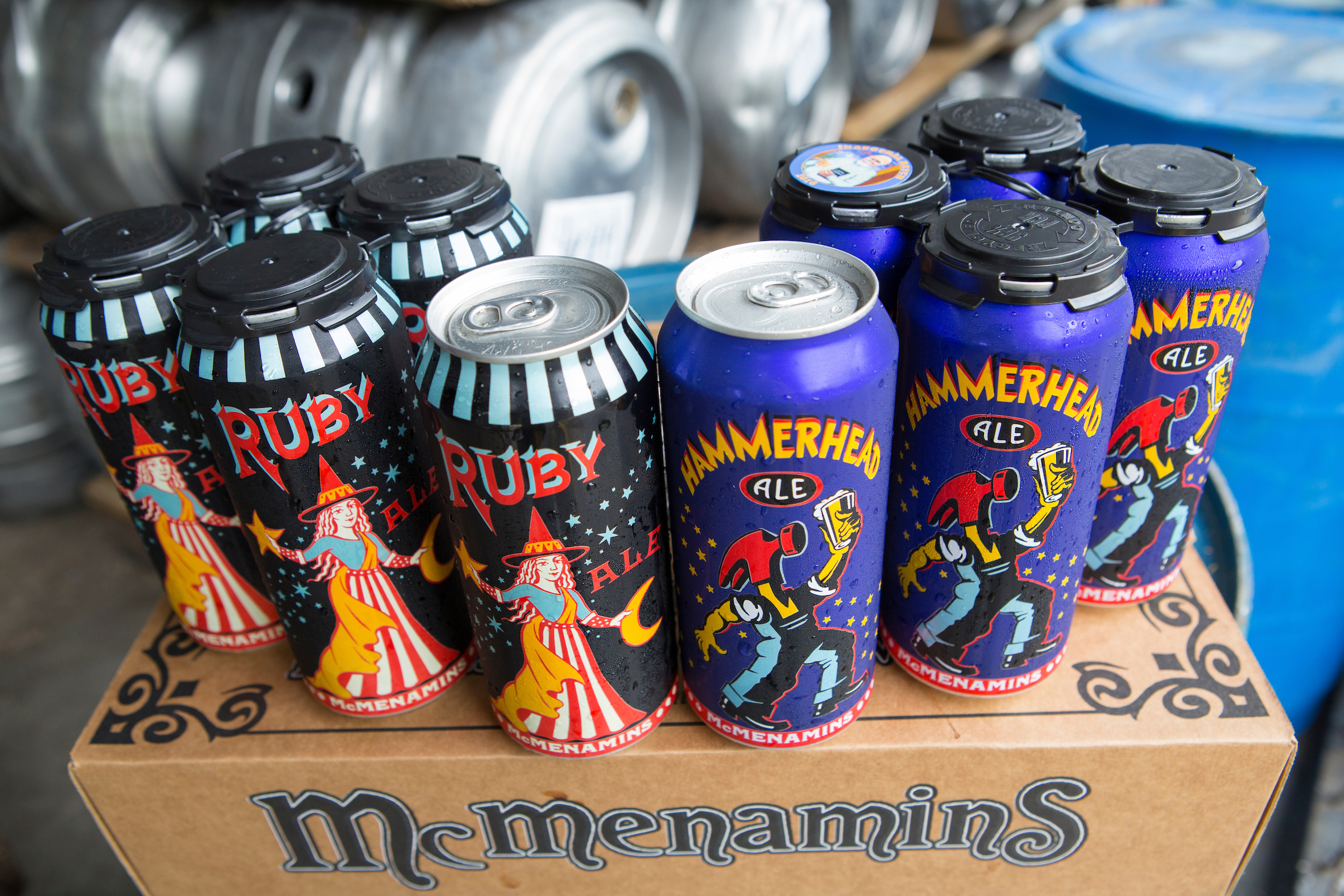 Cans of McMenamins Ruby and Hammerhead Ale. (image courtesy of McMenamins & Kathleen Nyberg)
