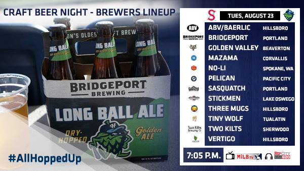Craft Beer Night presented by BridgePort Brewing at Hillsboro Hops.