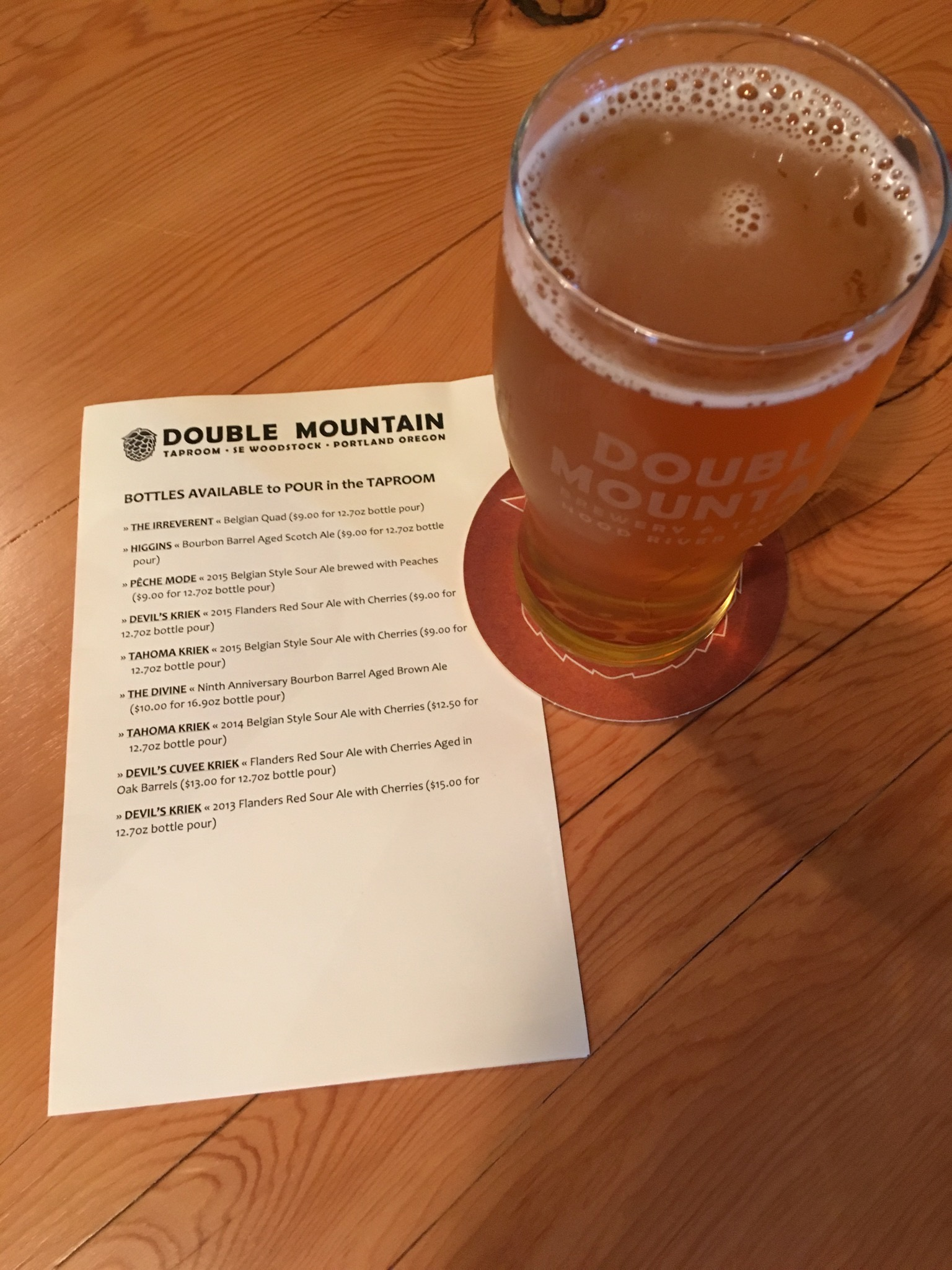 Double Mountain Taproom bottle list that includes a few offerings that are only available at its two pubs. (photo by Cat Stelzer)