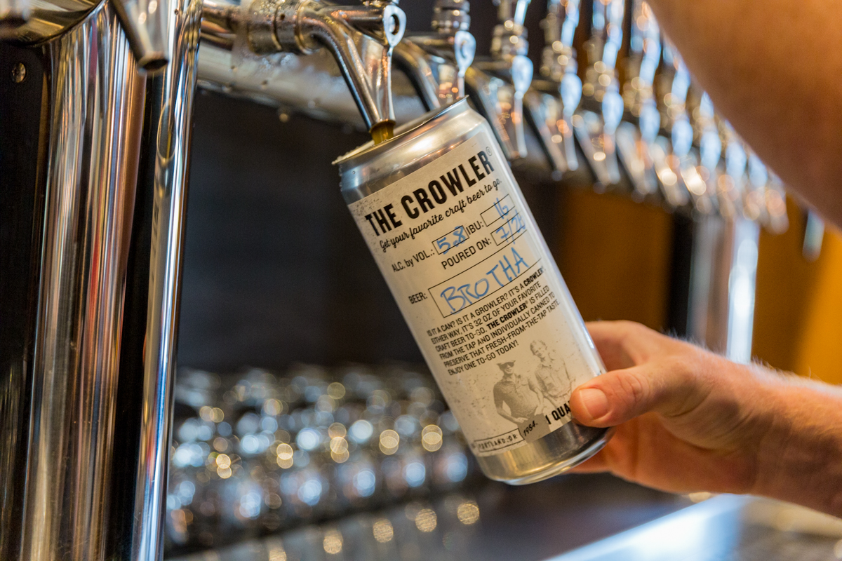Filling a 32 oz. Crowler of Widmer Brothers Brewing's Brotha From Anotha Motha at the Widmer Brothers Pub. (photo courtesy of Sasquatch Agency)