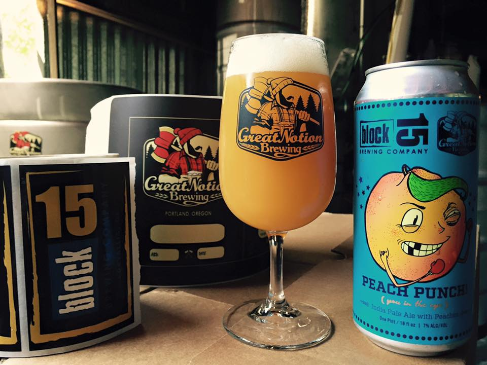 Great Notion release for its collaboration with Block 15 on Peach Punch IPA. (image courtesy of Great Notion Brewing)