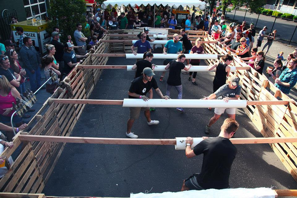 Human Foosball will take place on Sunday, August 28 outside of Bazi during the Hawthorne Stree Fair. (image courtesy of Bazi)