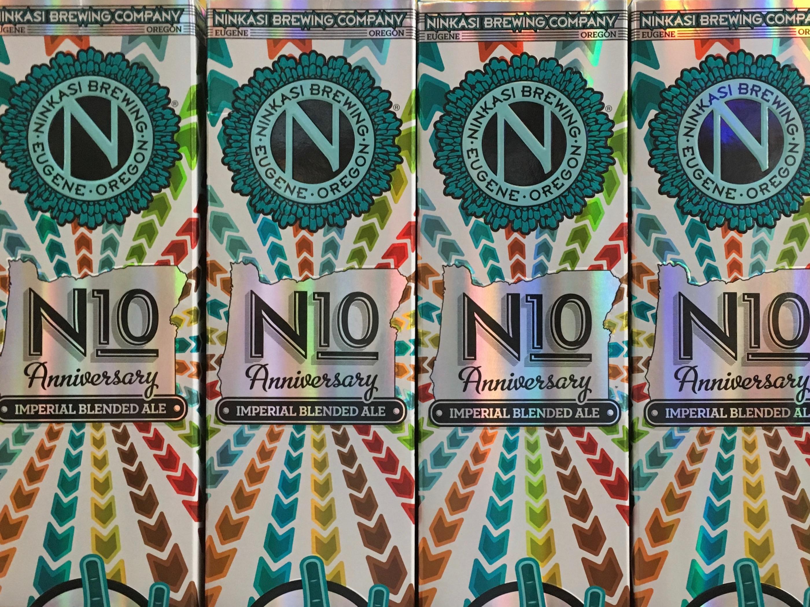 N10 packaging celebrating 10 Years of brewing at Ninkasi Brewing.