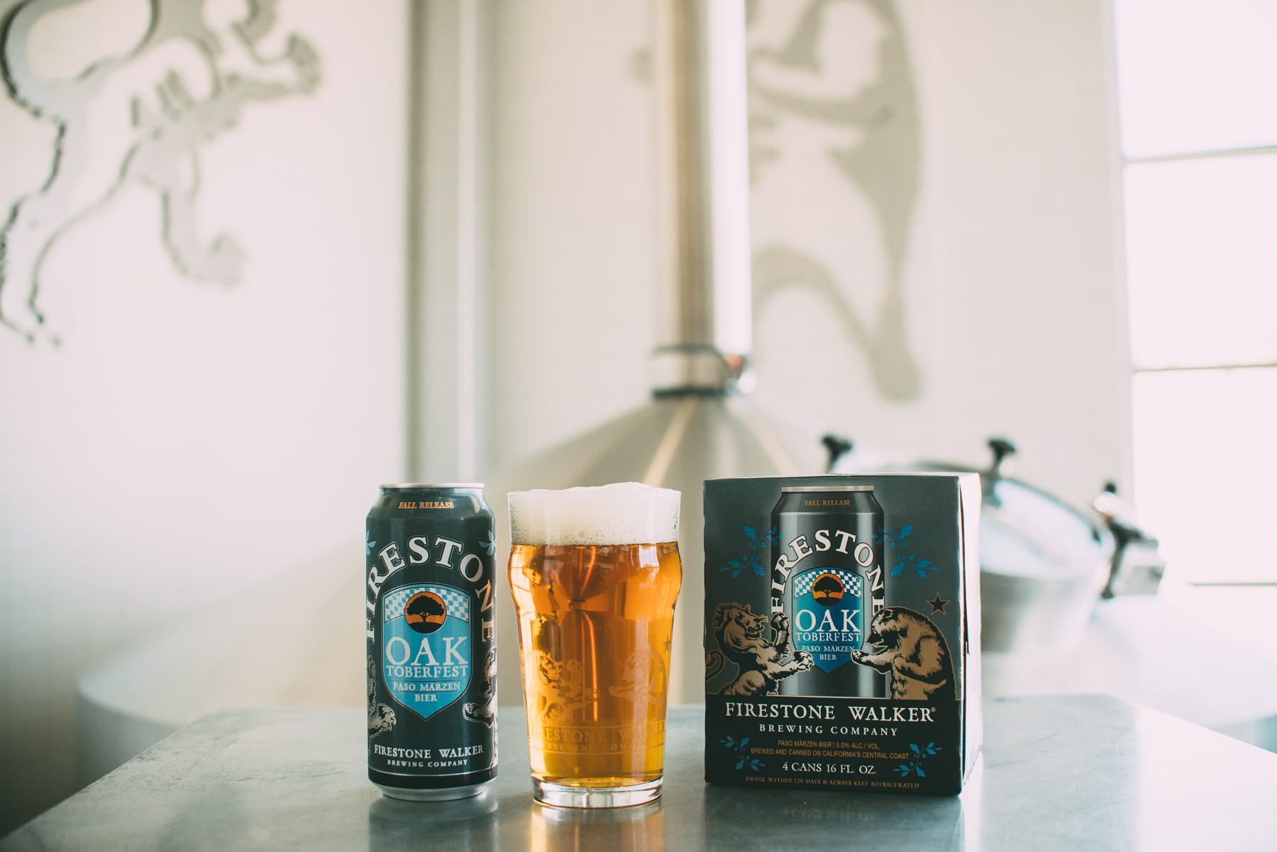 A pour of FIrestone Walker Oaktoberfest from its new packaging, a 16 oz. can. (image courtesy of Firestone Walker)
