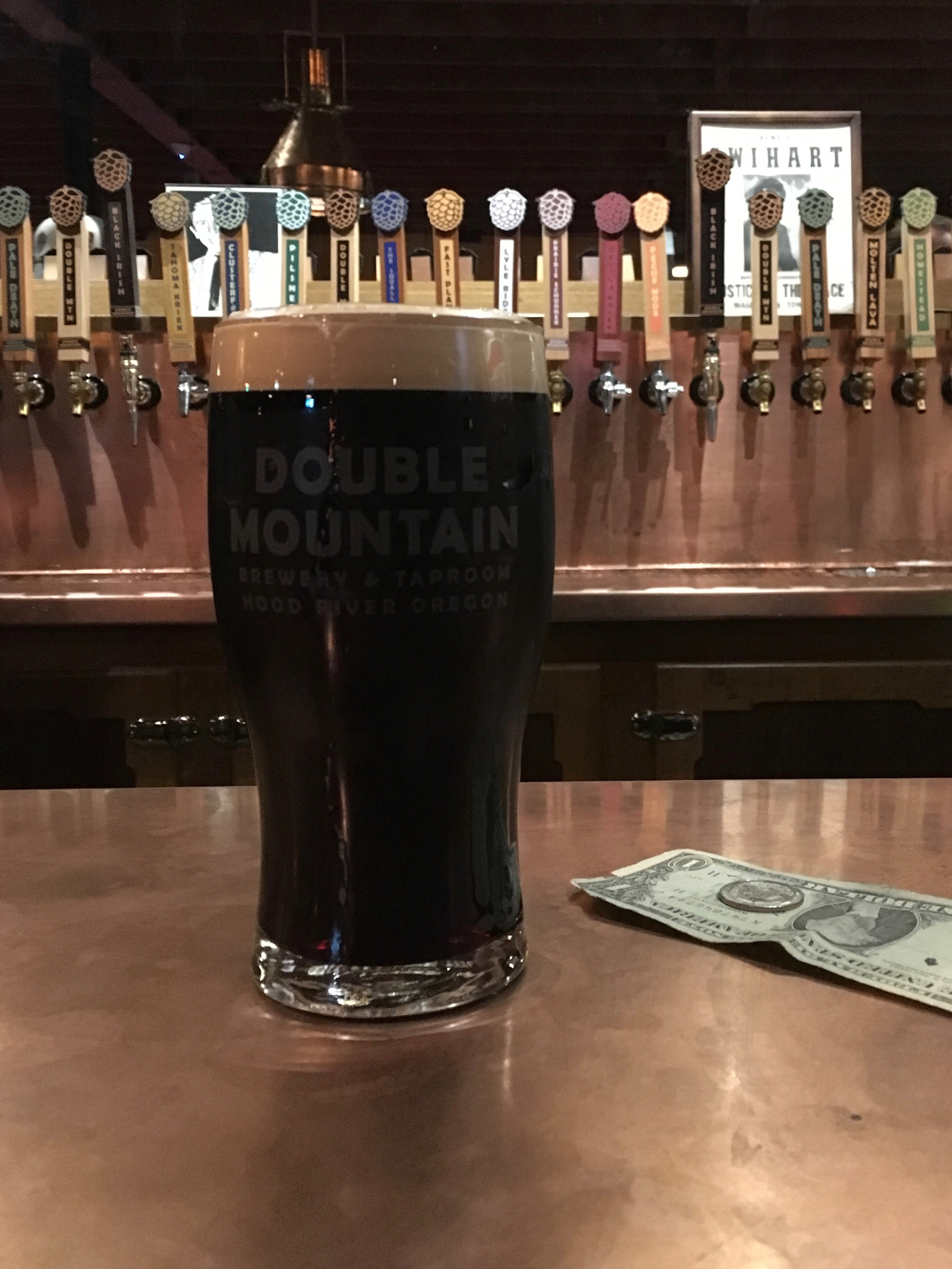 Pint of the delicious Black Irish Dublin-Style Stout on nitro at the Double Mountain Taproom.