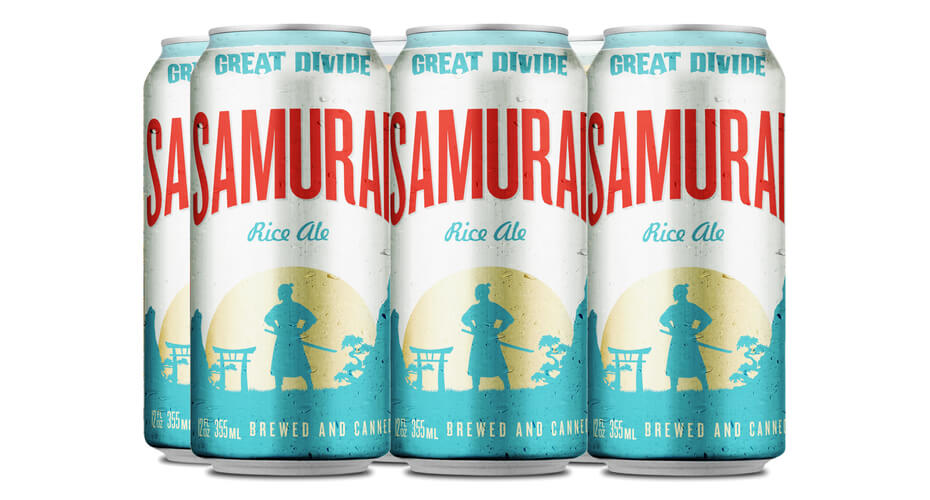 Six-pack of Samurai Rice Ale. (image courtesy of Great Divide Brewing Co.)