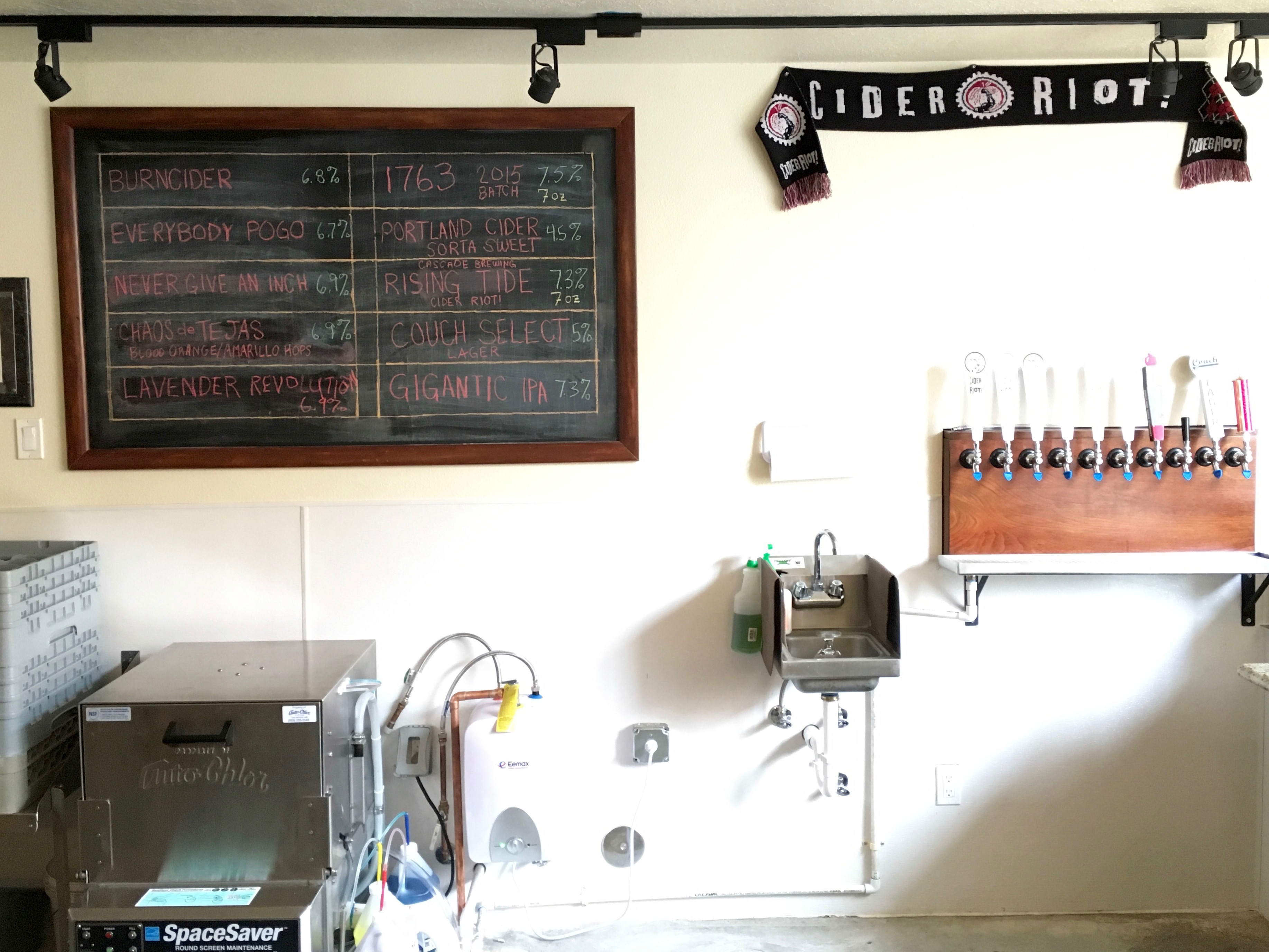 Tap list and tap handles at Cider Riot! Pub.