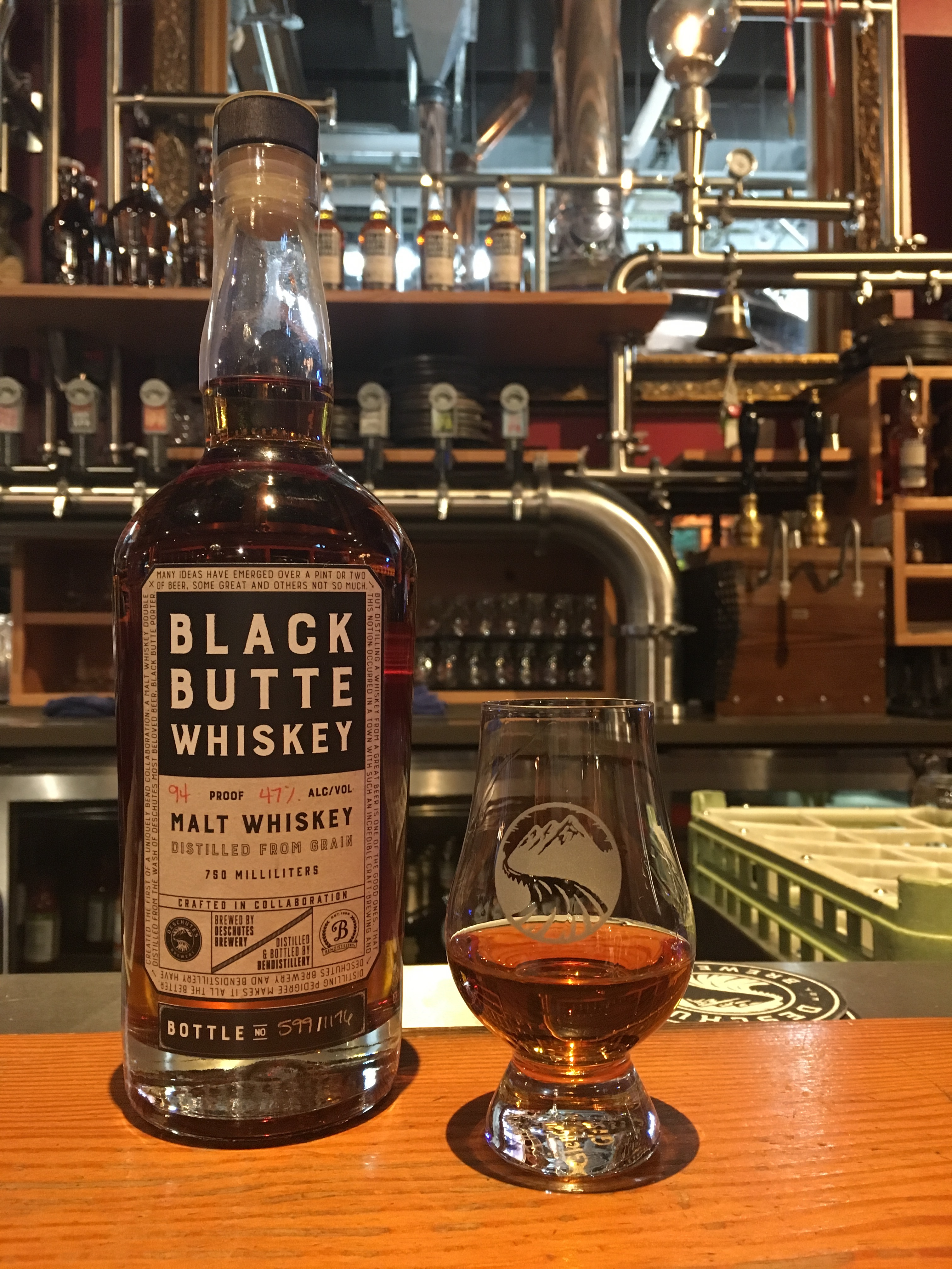 A neat pour of Bendistillery Black Butte Whiskey at Deschutes Portland Pub.