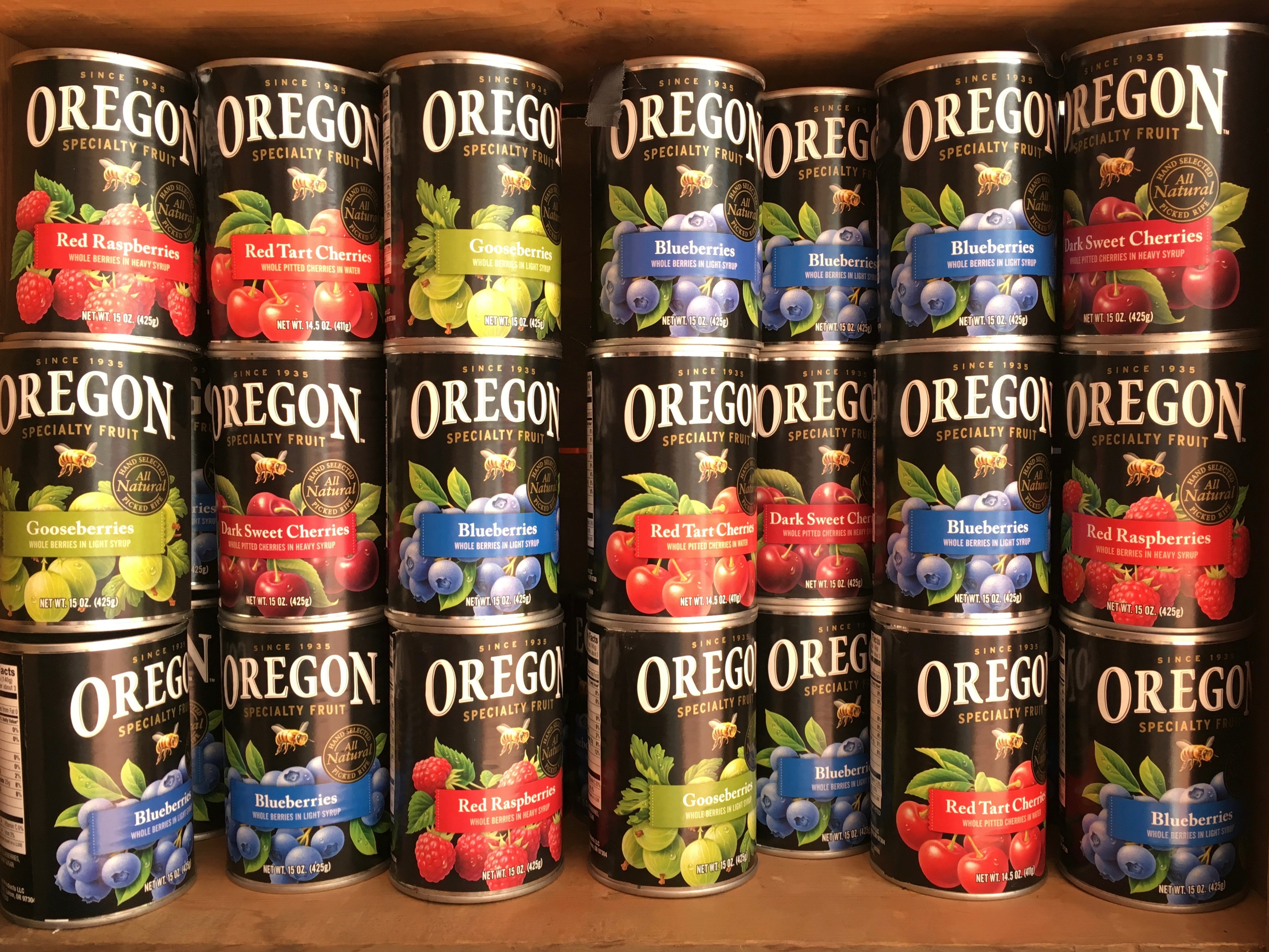Cans of various fruit products from Salem based Oregon Fruit Products.