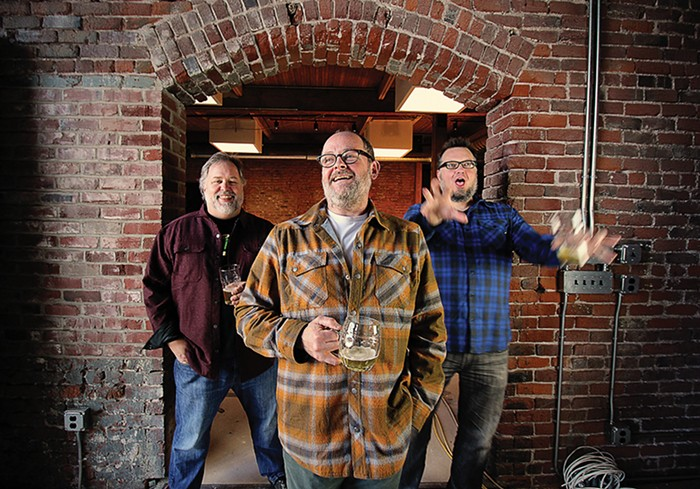 Charlie Devereux, Rodney Muirhead, and Matthew Jacobson, the three people behind the new Wayfinder Beer. (image courtesy of Wayfinder Beer)