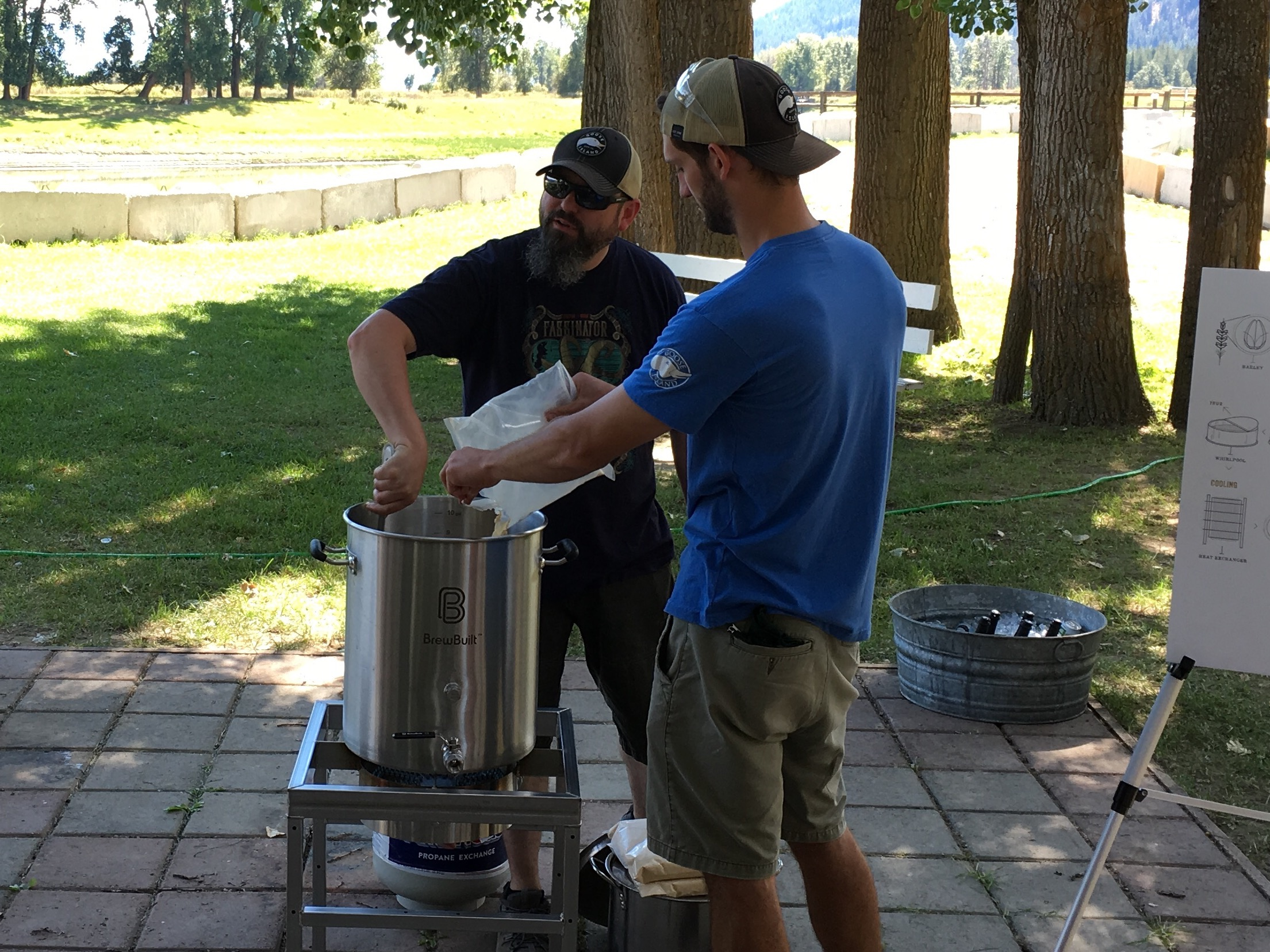 Goose Island brewers Keith Gabbett and Quinn Fuechsl adding the malt extract to the farm brew at Elk Mountain Farms. Yes, we used malt extract.