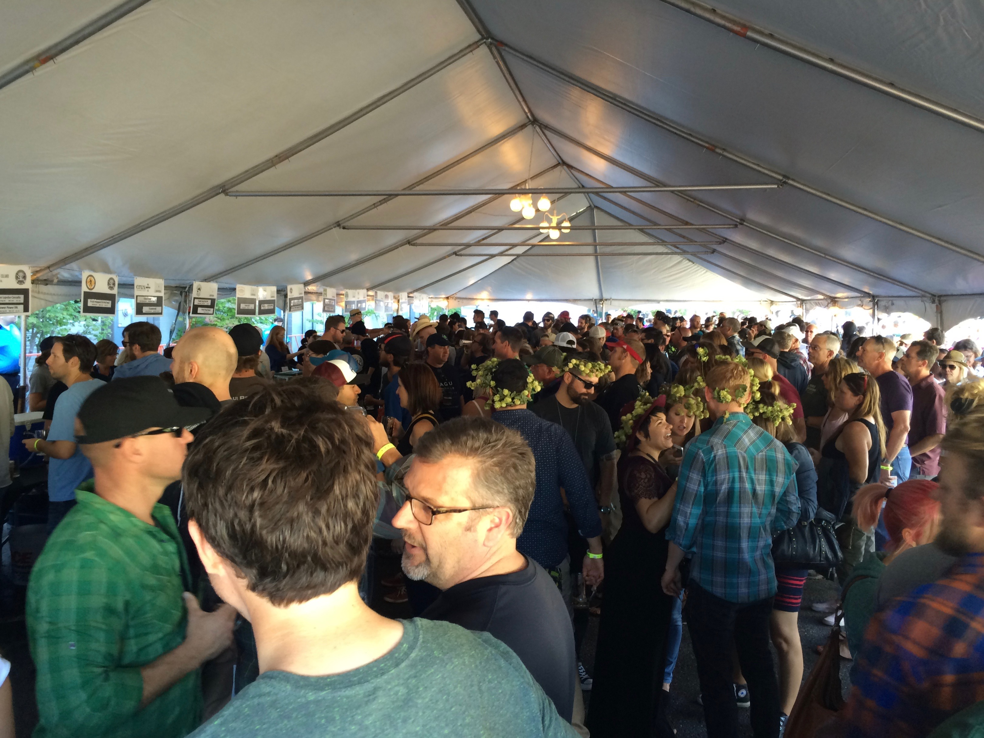 Inside the beer tent at the 2015 Hood River Hops Fest.