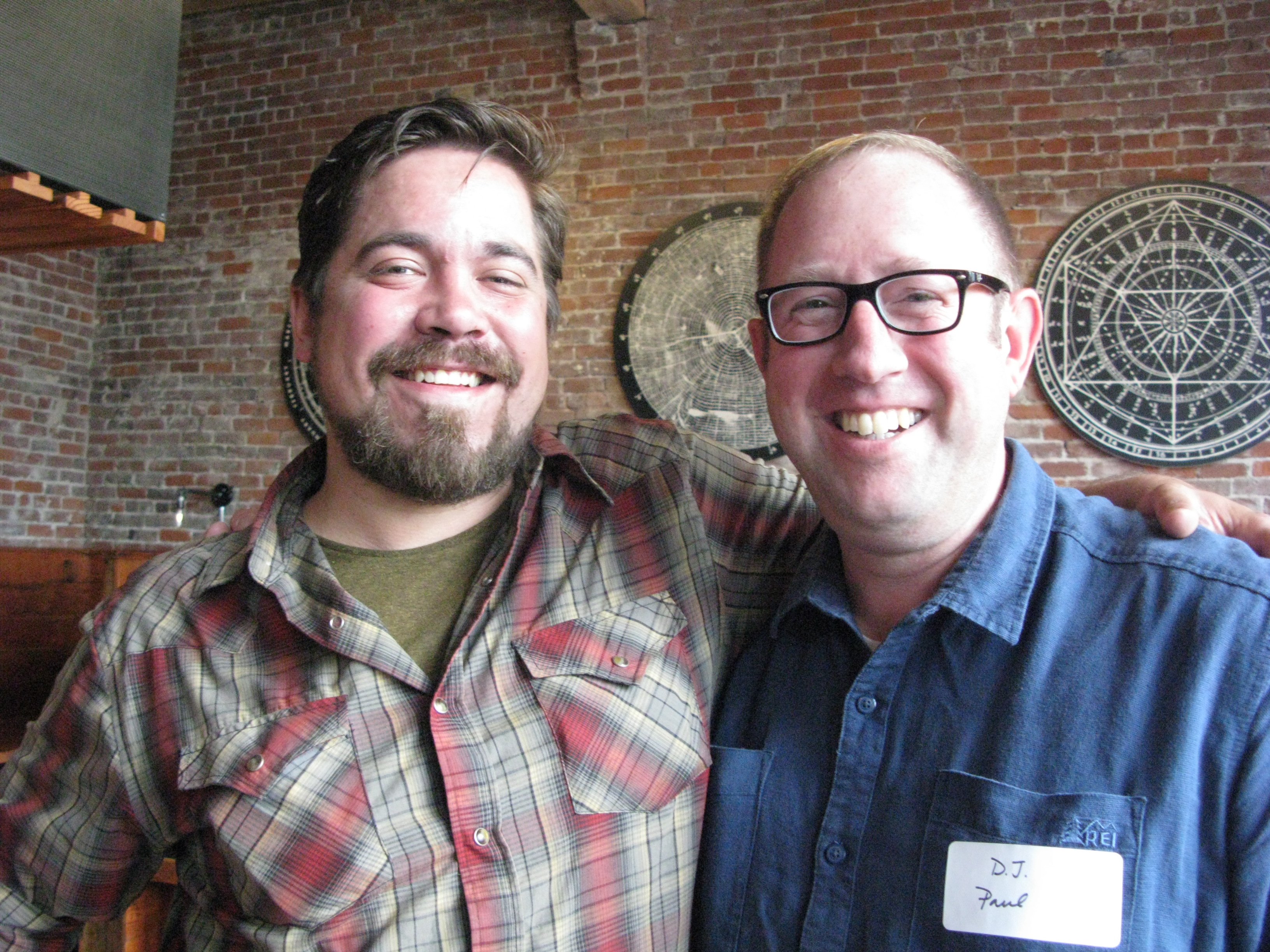 """A couple of my favorite beer industry people, Jonathan Carmean and D.J The media night was a bit of old home week, seeing Jonathan and Charlie Devereux in the new place, and old friends such as Phil """"Biscuit"""" Timperman behind the bar."""