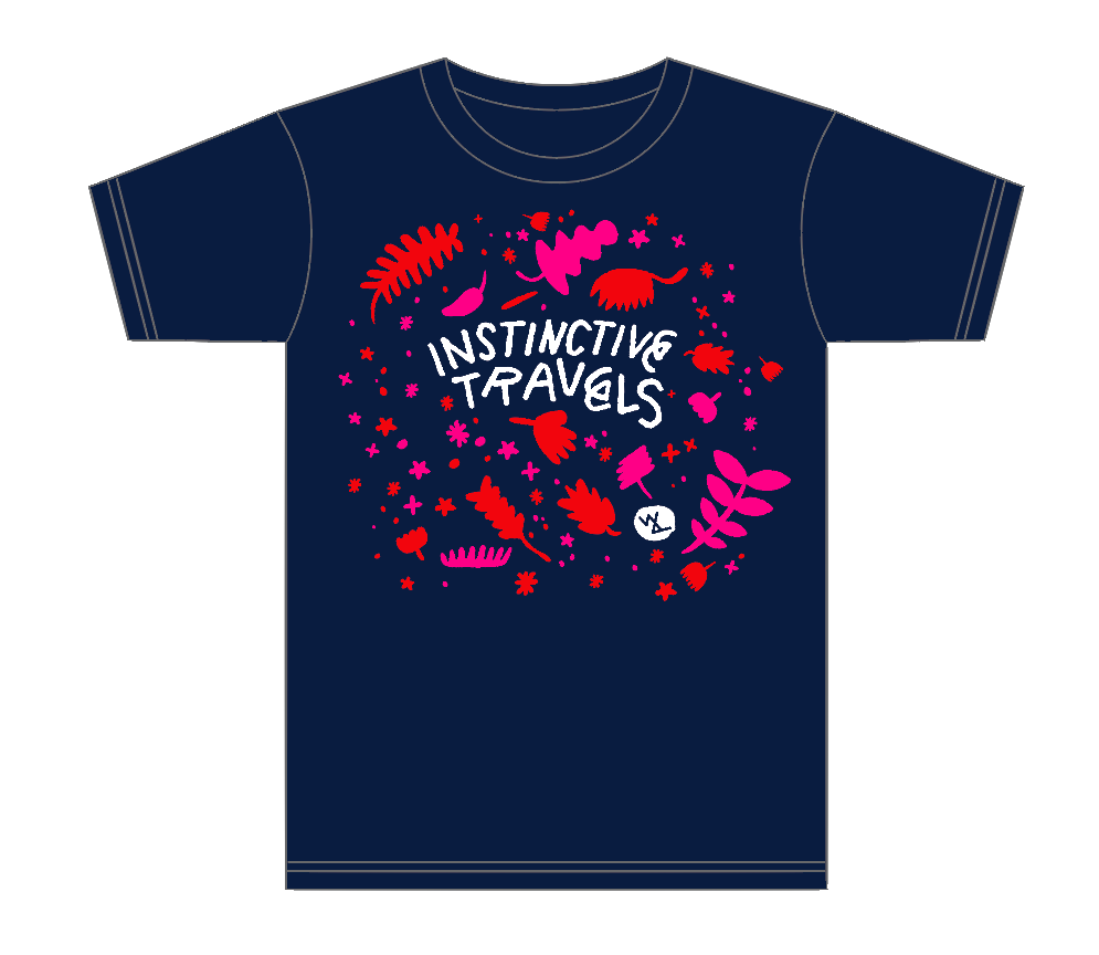 Local artist Jason Sturgill created a new t-shirt for Instinctive Travels. (image courtesy of Wolves & People Farmhouse Brewery)