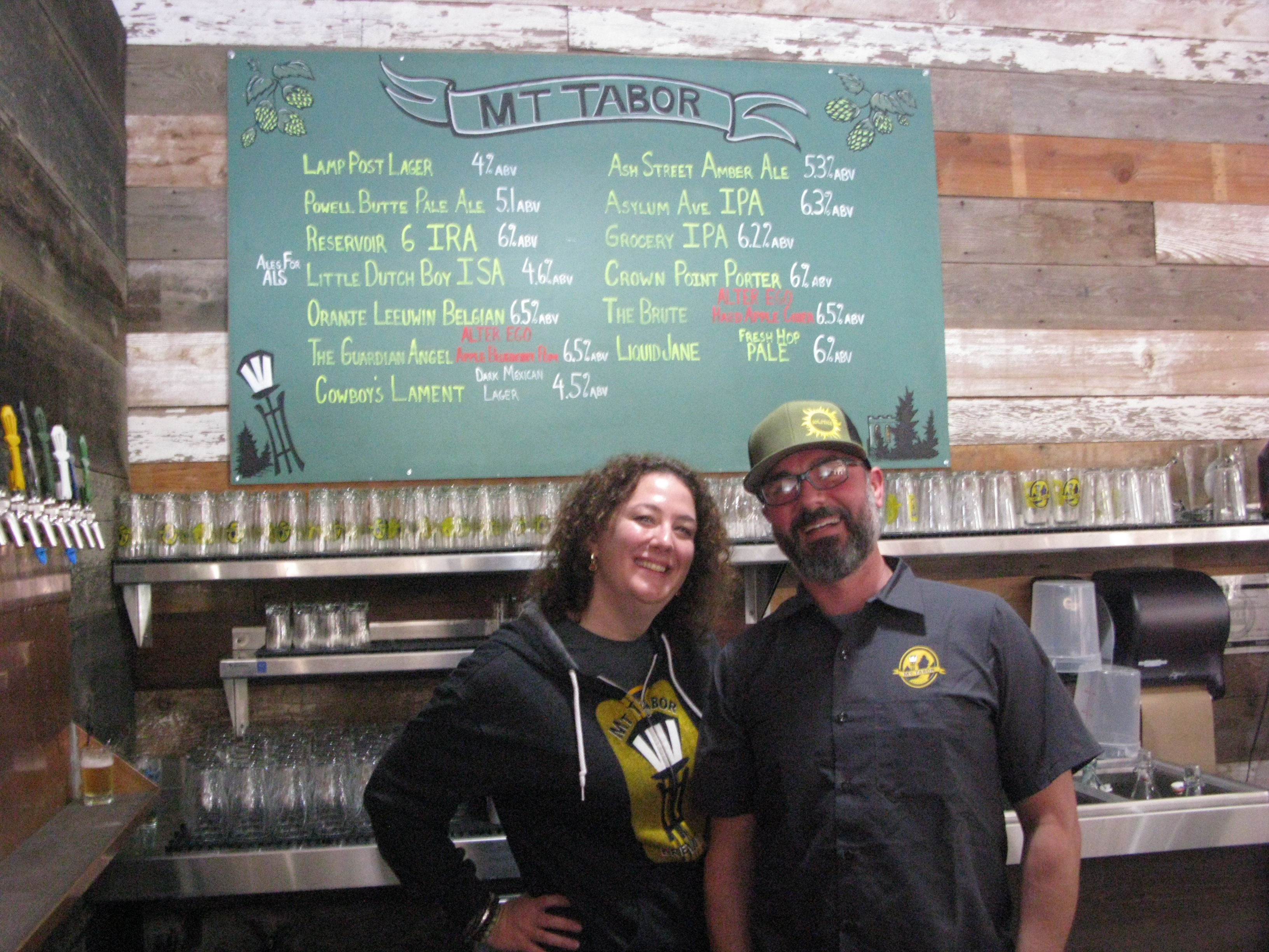 Nicole Kasten and Ben Dobler at the newly relocated Mt. Tabor Brewing. (FoystonFoto)