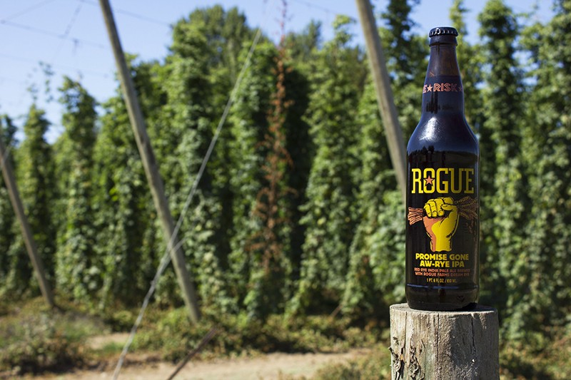 Promise Gone Aw-Rye IPA is crafted with Rogue Farms rye and hops. (image courtesy of Rogue Ales)