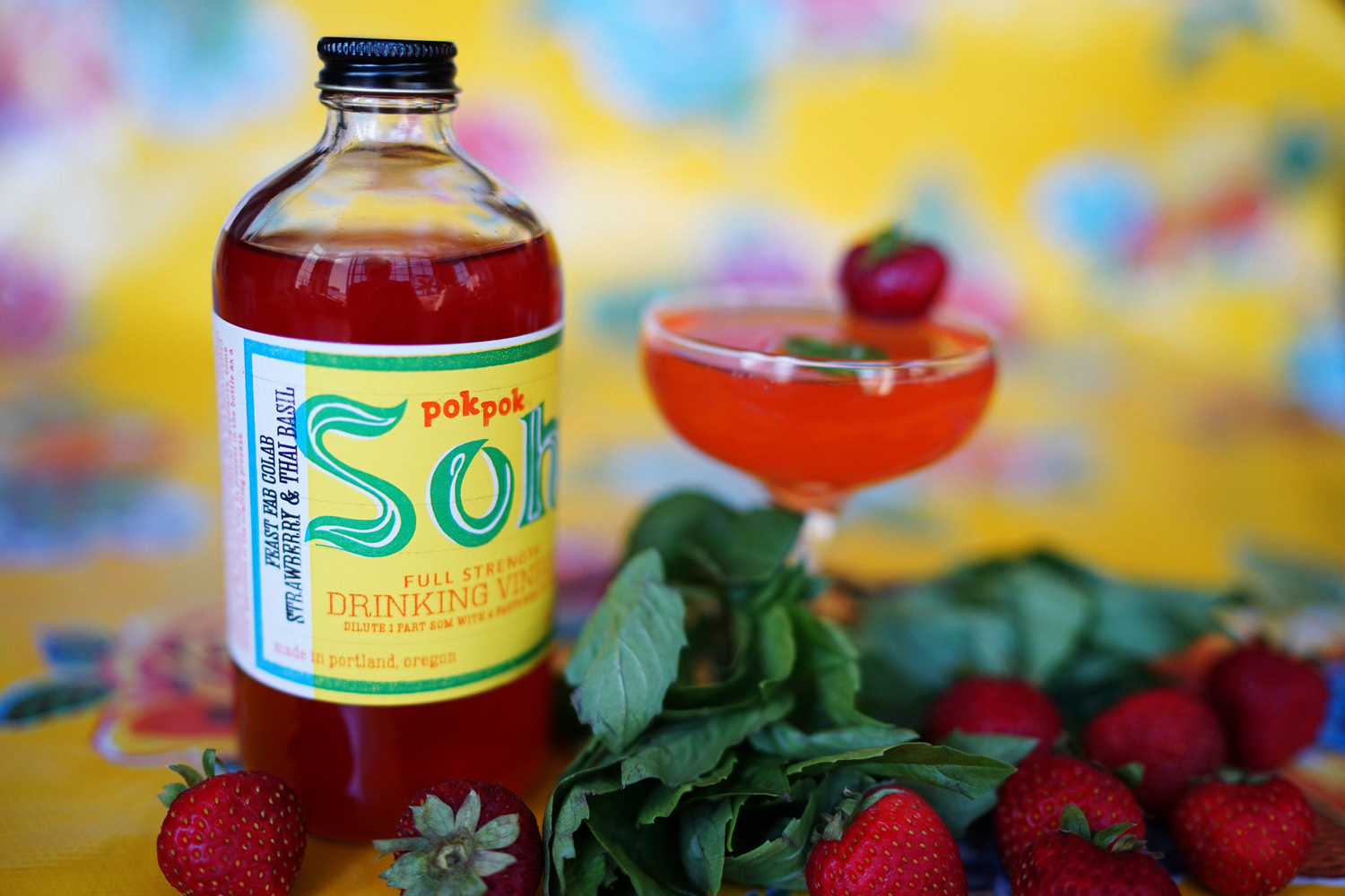 Strawberry & Thai Basil Drinking Vinegar from Pok Pok Som availble exclusively during Feast Portland. (image courtesy of Pok Pok Som)