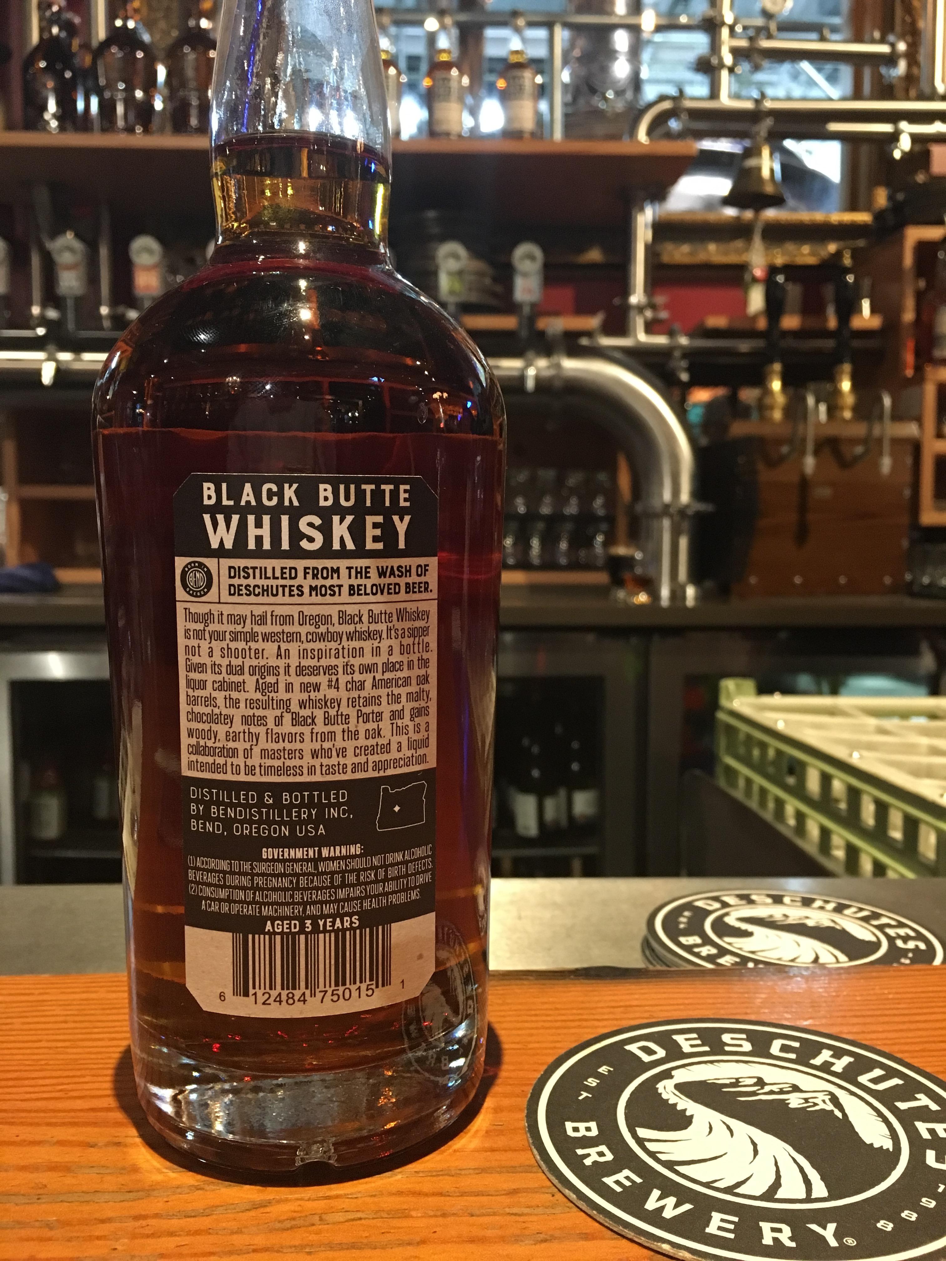 The back bottle label of Bendistillery Black Butte Whiskey.