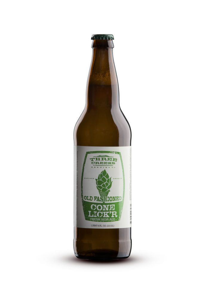 Three Creeks Brewing Co. Conelick'r Fresh Hop Ale in 22 oz bottles. (image courtesy of Three Creeks Brewing)