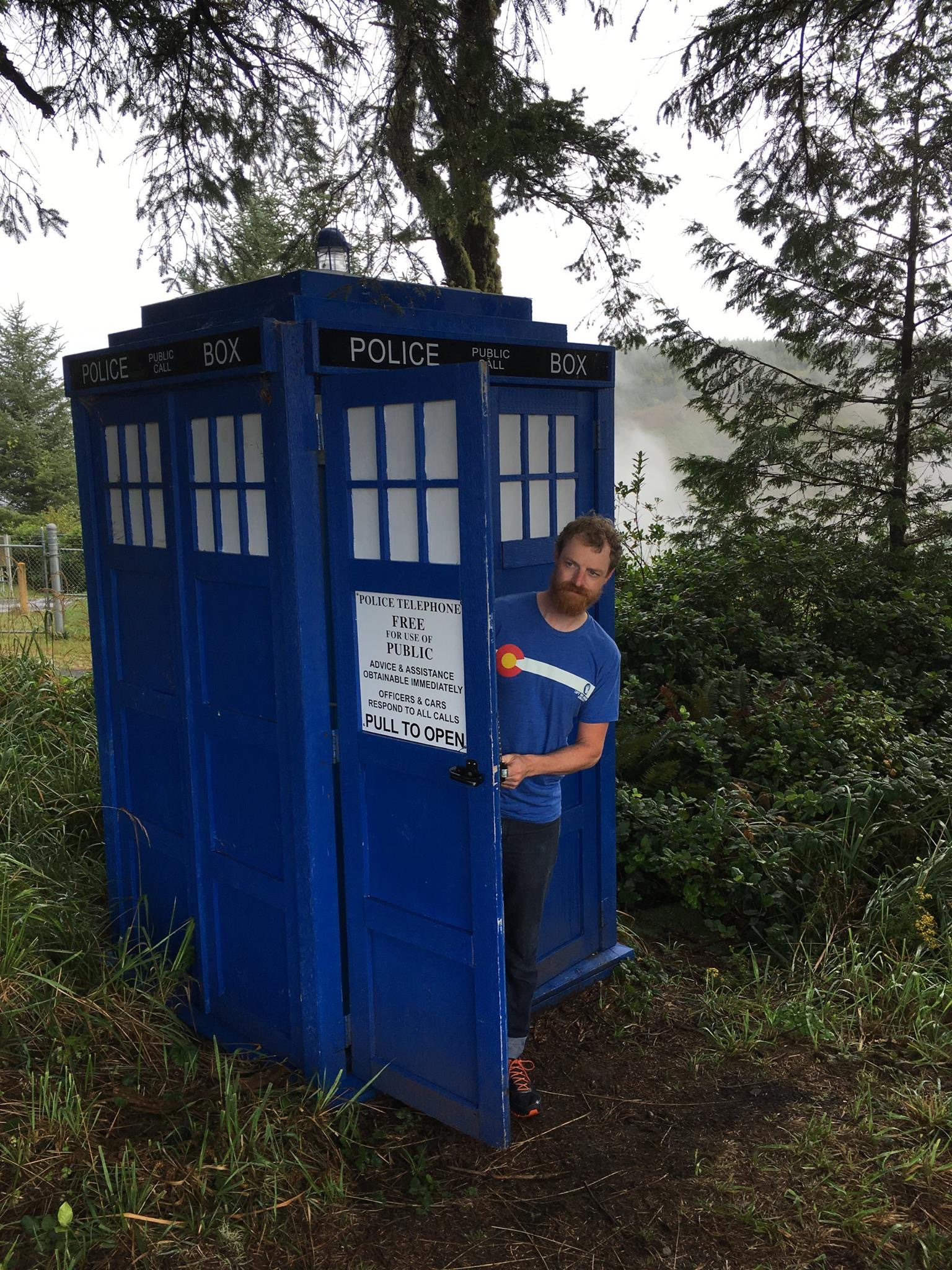 Toby Munn from The Kernel Brewing checks out the Tardis. (image courtesy of Gigantic Brewing)