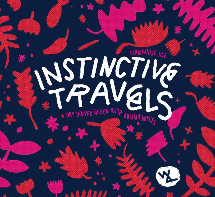 Wolves & People Farmhouse Brewery Instinctive Travels Label from artist Jason Sturgill.