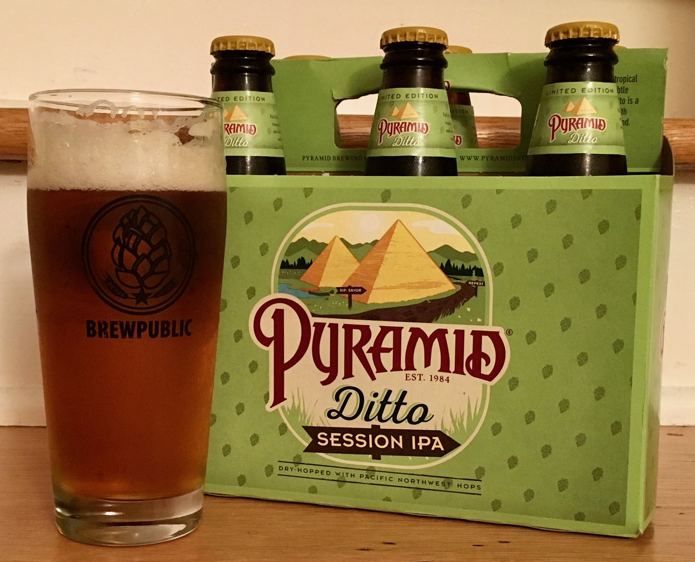 A glass pour of Pyramid Brewing Ditto Session IPA in a Brewpublic glass.