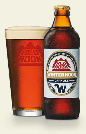 A glass pour of Redhook Winterhook Dark Ale. (image courtesy of Redhook Brewery)