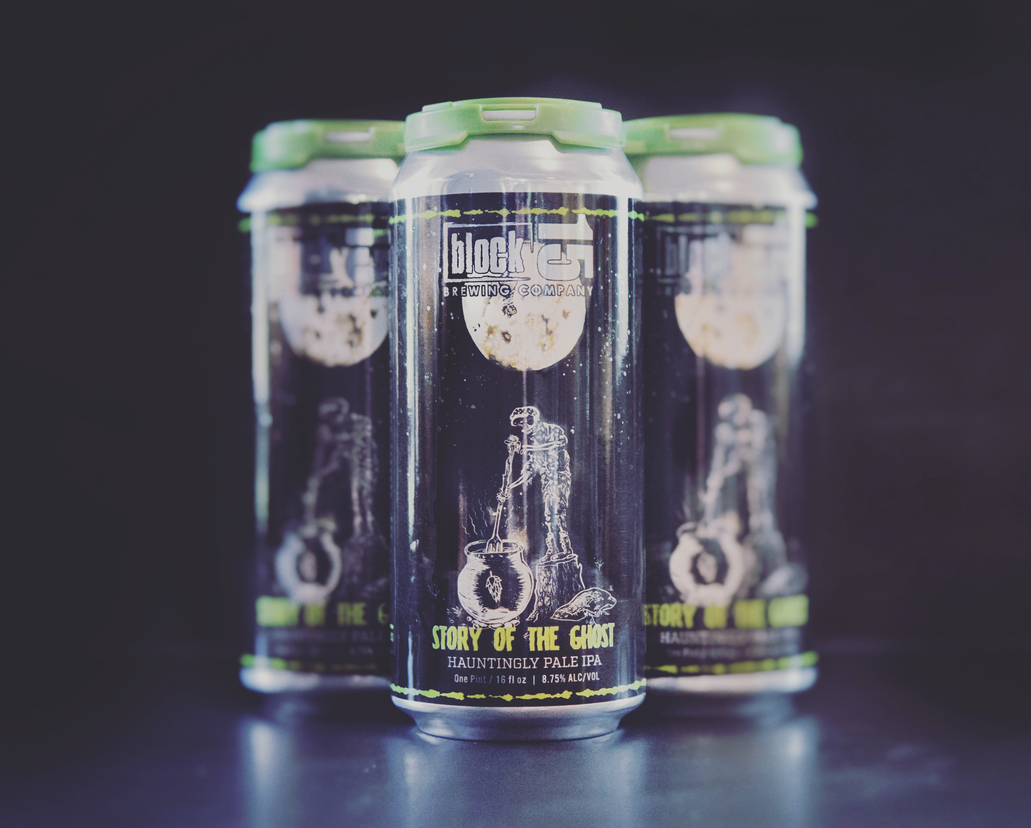 Block 15 Story of the Ghost 16 oz. cans. (image courtesy of Block 15 Brewing)
