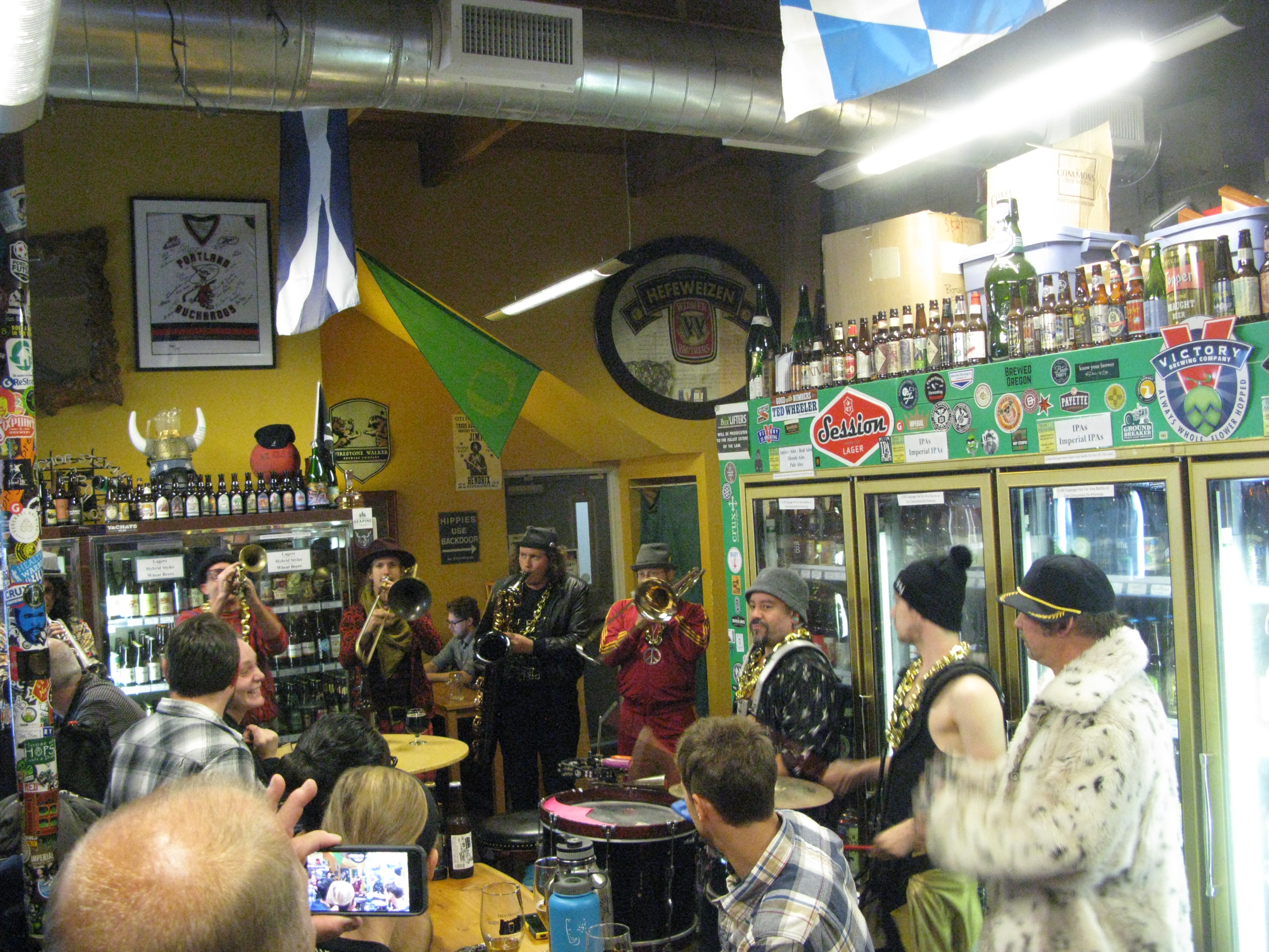 Brass to Mouth Street Band featuring member of MarchFourth Marching Band take over The BeerMongers. (FoystonFoto)