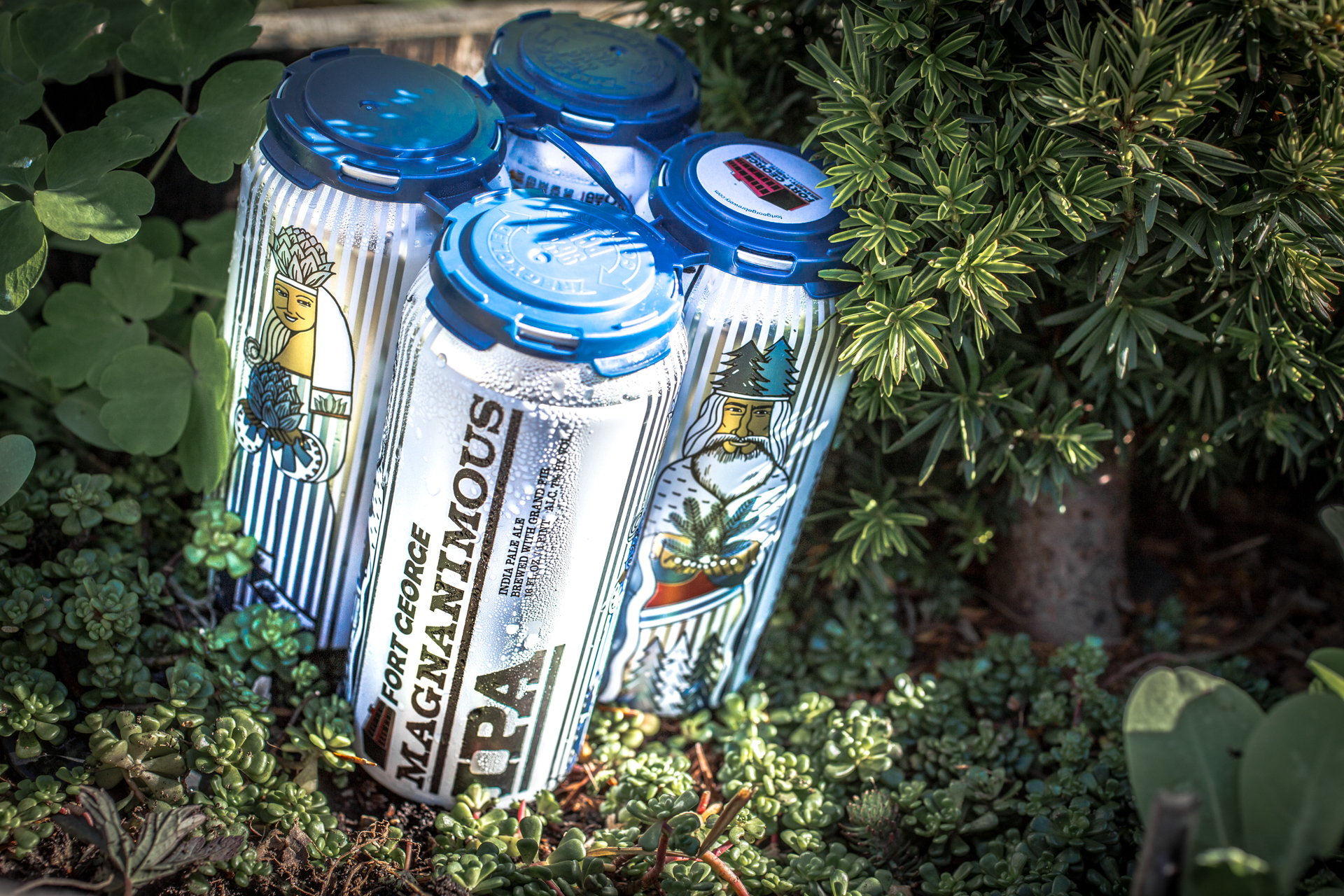 Cans of Magnanimous IPA that feature Jana and Tim Ensign. (image courtesy of Fort George Brewery)