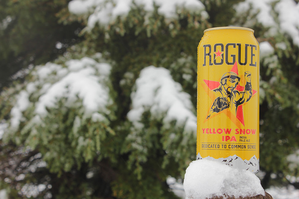 In time for winter, Rogue Ales launches its Yellow Snow IPA in 16 oz. cans. (image courtesy of Rogue Ales)